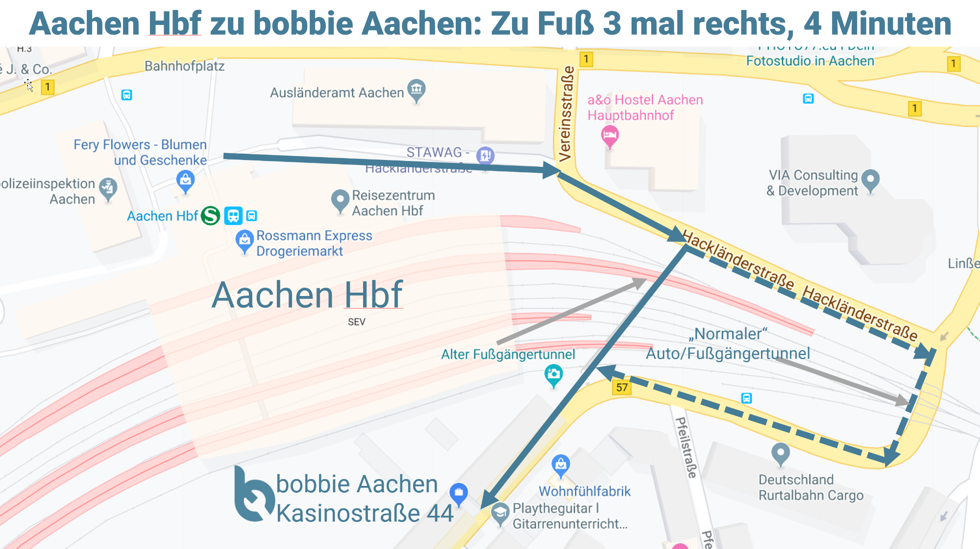 Fußweg Aachen Hbf