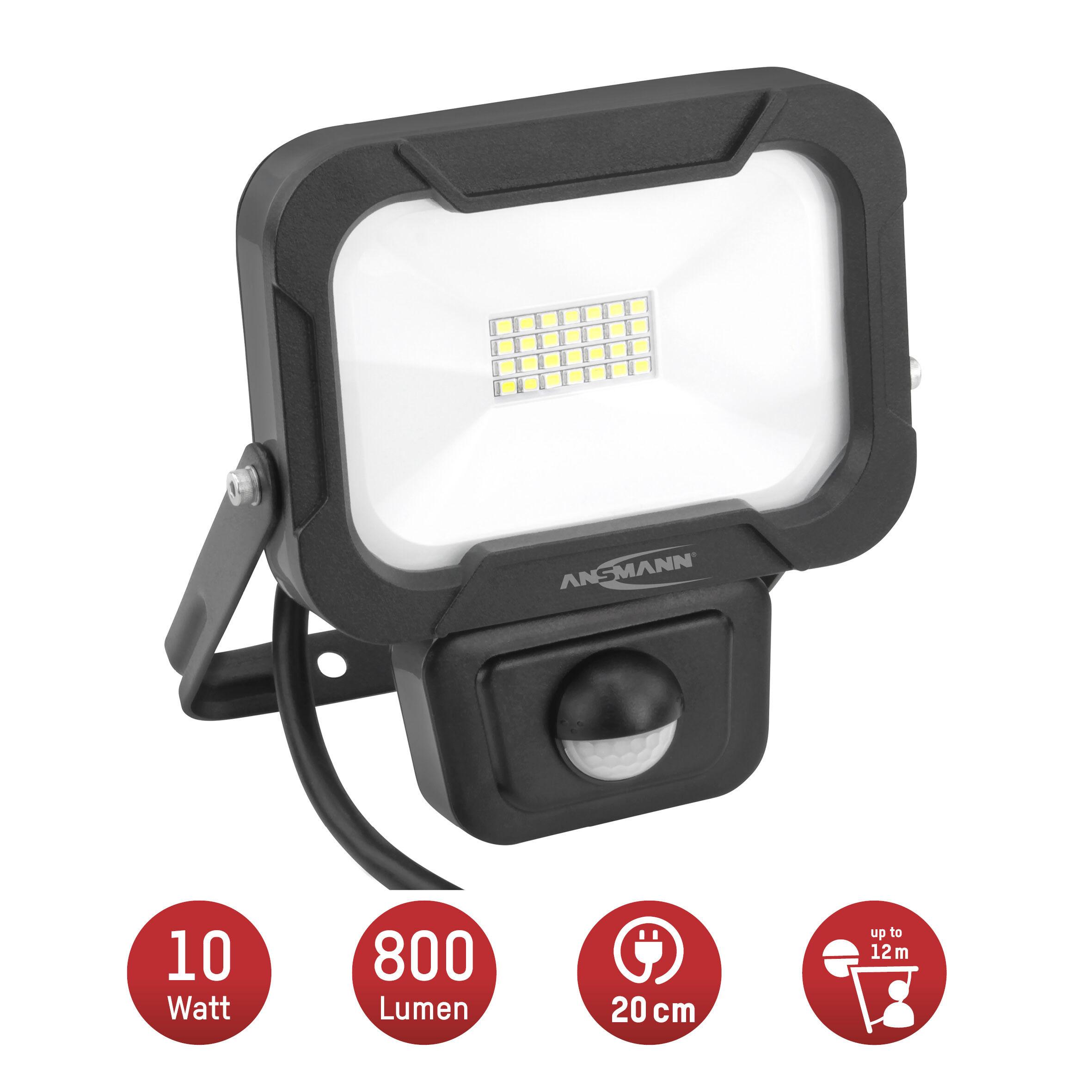 ANSMANN Wandstrahler mit Bewegungsmelder LED 10W – IP54 wetterfest