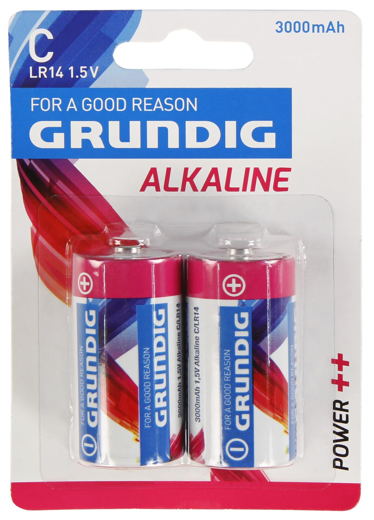 Baby-Batterie GRUNDIG Alkaline, 1,5V, Typ C/LR14, 2er-Blister