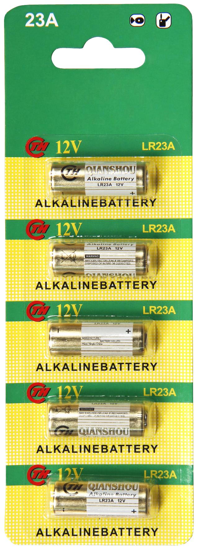 Batterie A23, 12V, 28x10mm, Alkaline, 5er-Blister