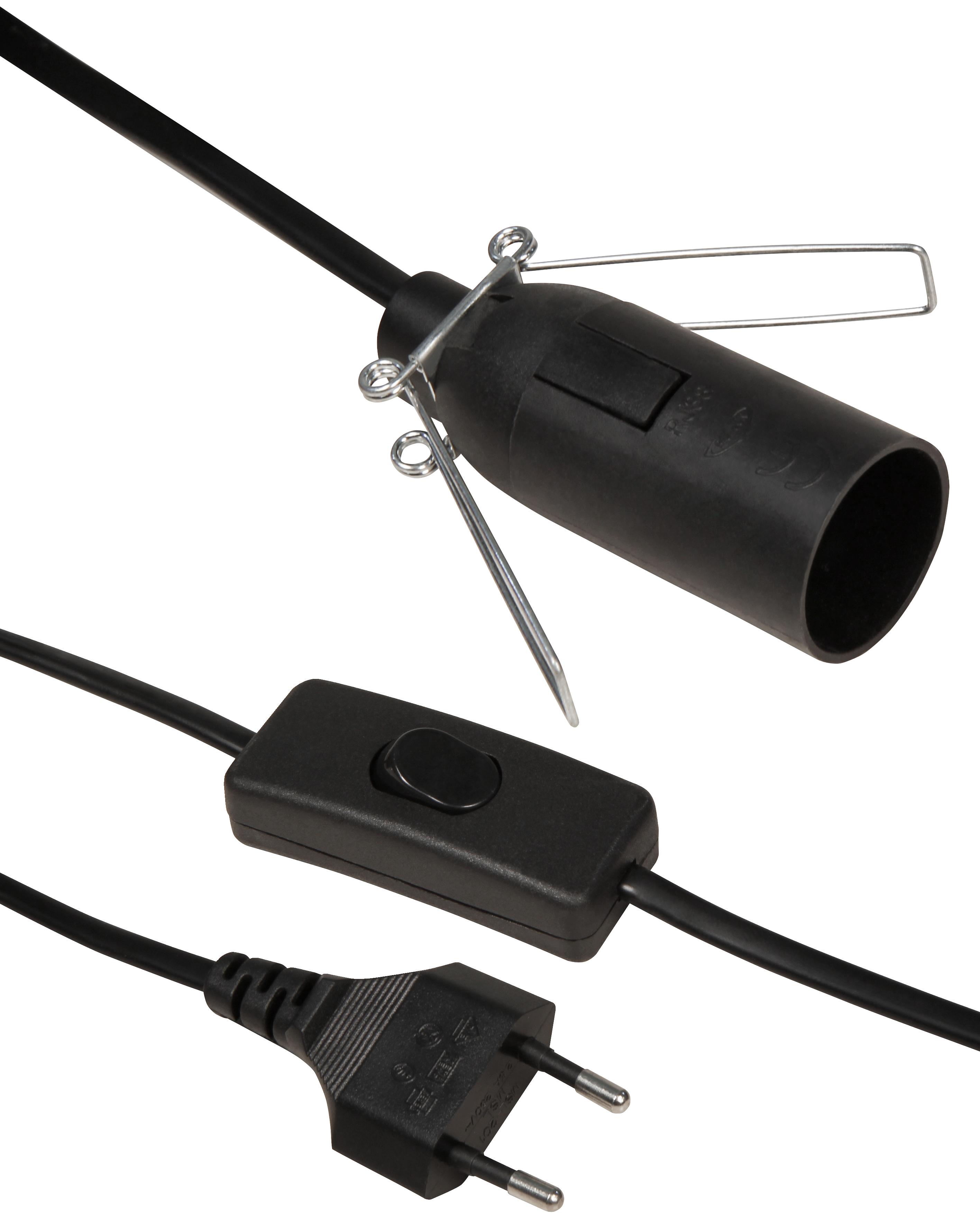 Euro-Netzkabel McPower mit Schnurschalter und E14 Fassung, 3,5m, schwarz