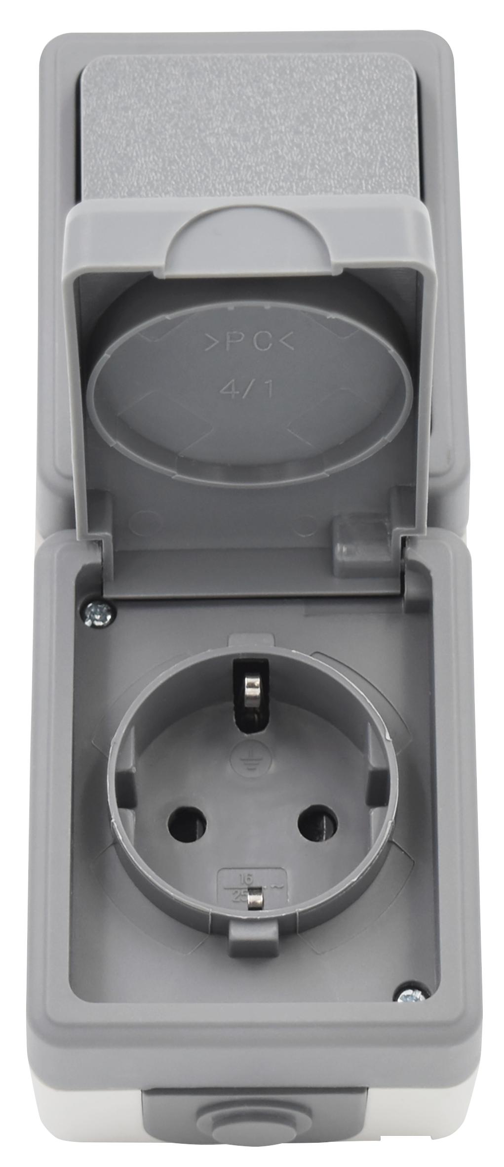 Feuchtraum Kombi-Dose McPower ''Secure'' 250V~, Schalter+Steckdose, IP44, AP, grau