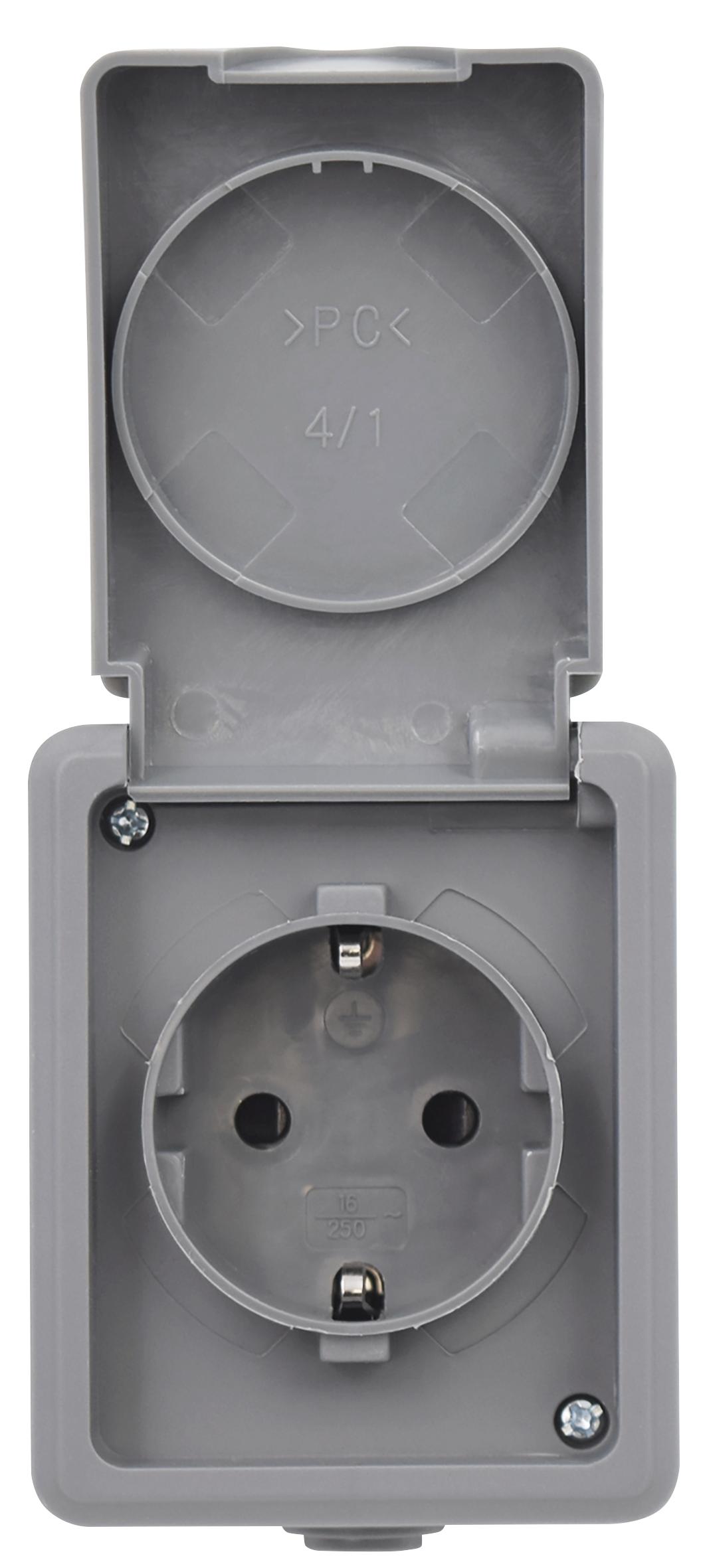 Feuchtraum Steckdose McPower ''Secure'', 250V~/16A, IP44, AP, grau