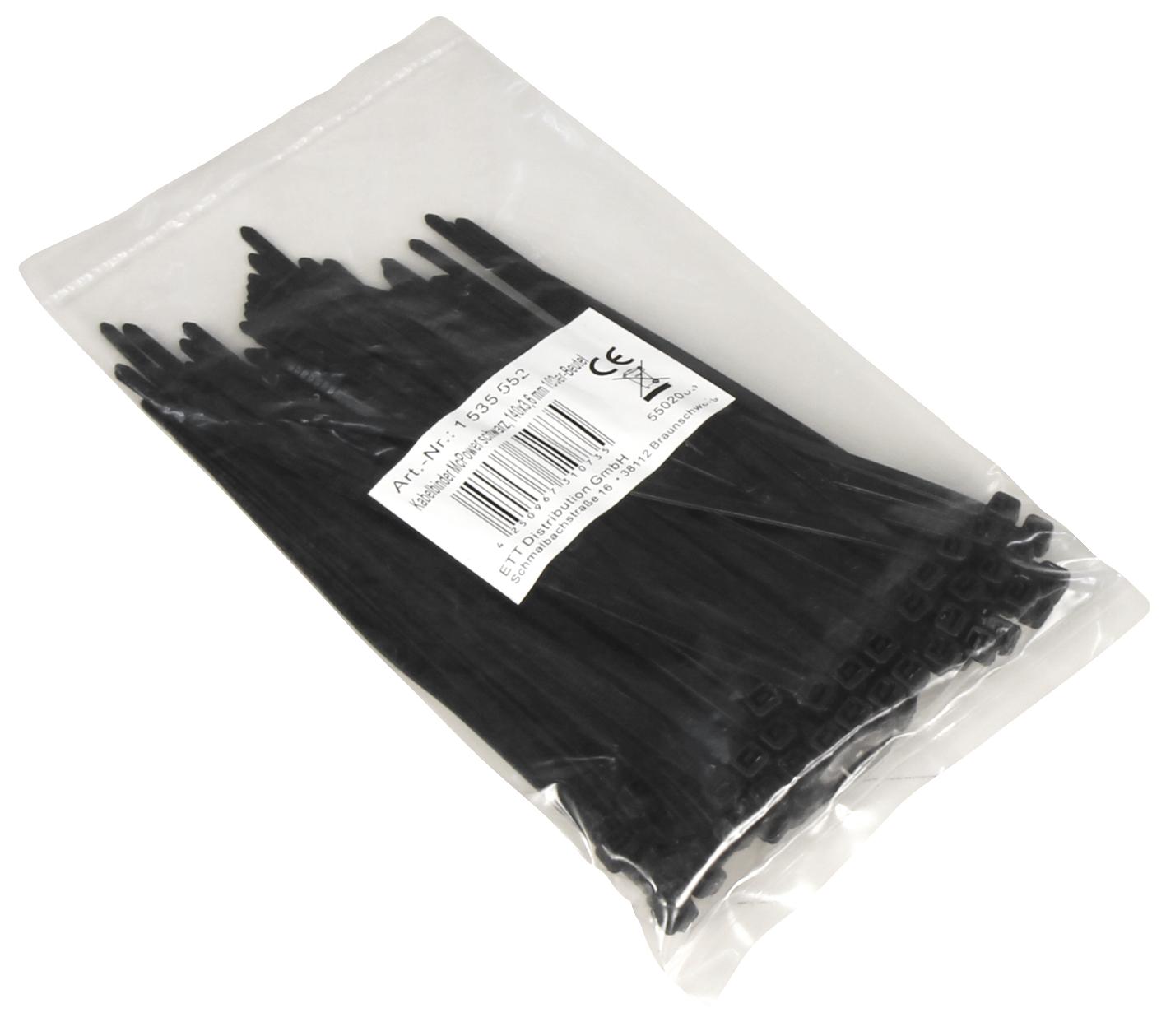 Kabelbinder McPower, schwarz, 140x3,6mm, 100er-Pack, UV beständig