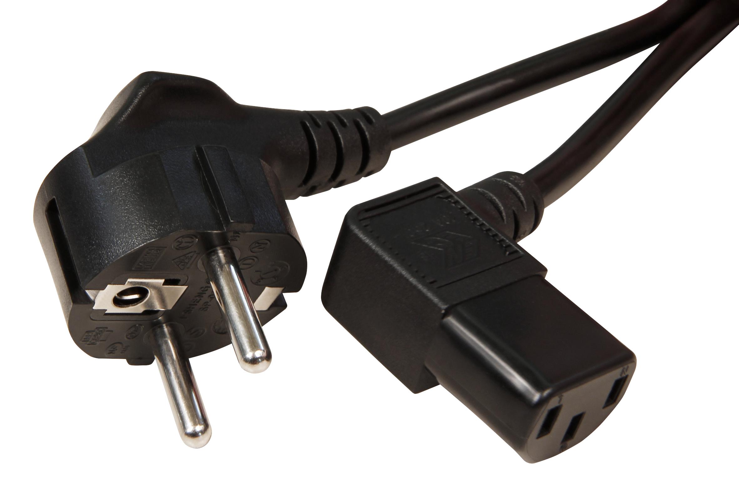 Kaltgeräte-Netzkabel Schutzk.-Winkelstecker Kaltgeräte-Kupplung, 2 m, 3x0,75 mm², schwarz