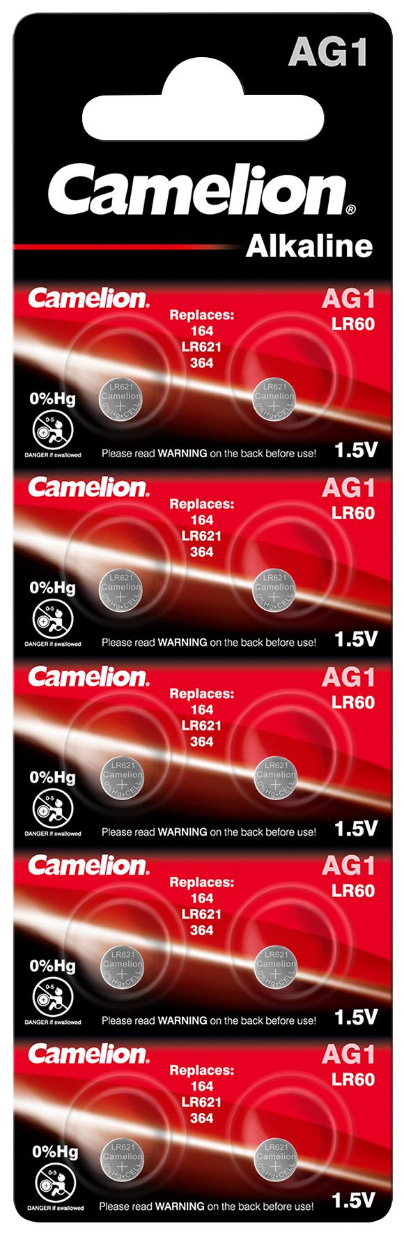 Knopfzelle CAMELION, AG1, 1,5V, Alkaline, 10er-Blister