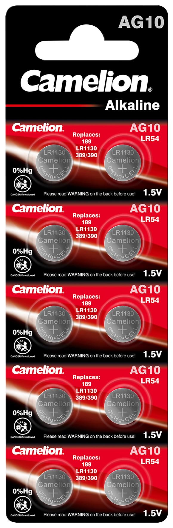 Knopfzelle CAMELION, AG10, 1,5V, Alkaline, 10er-Blister