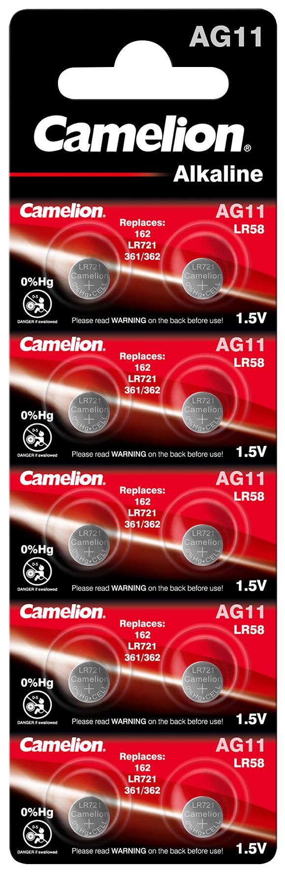 Knopfzelle CAMELION, AG11, 1,5V, Alkaline, 10er-Blister