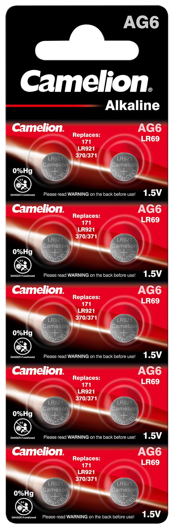Knopfzelle CAMELION, AG6, 1,5V, Alkaline, 10er-Blister