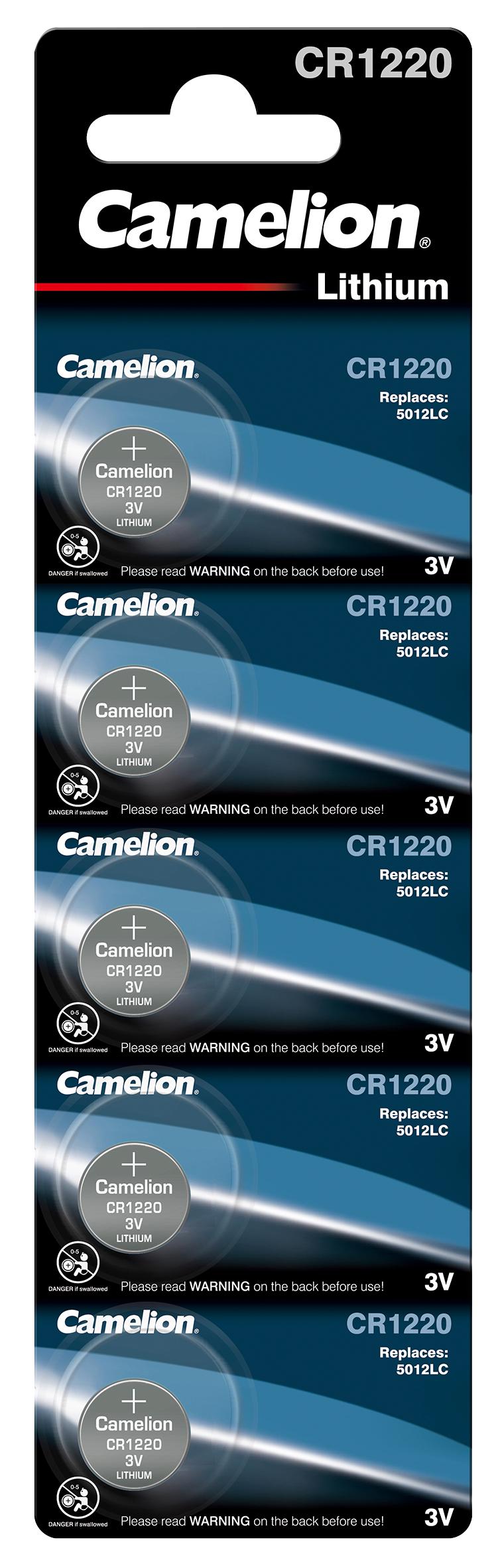 Knopfzelle CAMELION, CR1220 3,0V, Lithium, 5er-Blister