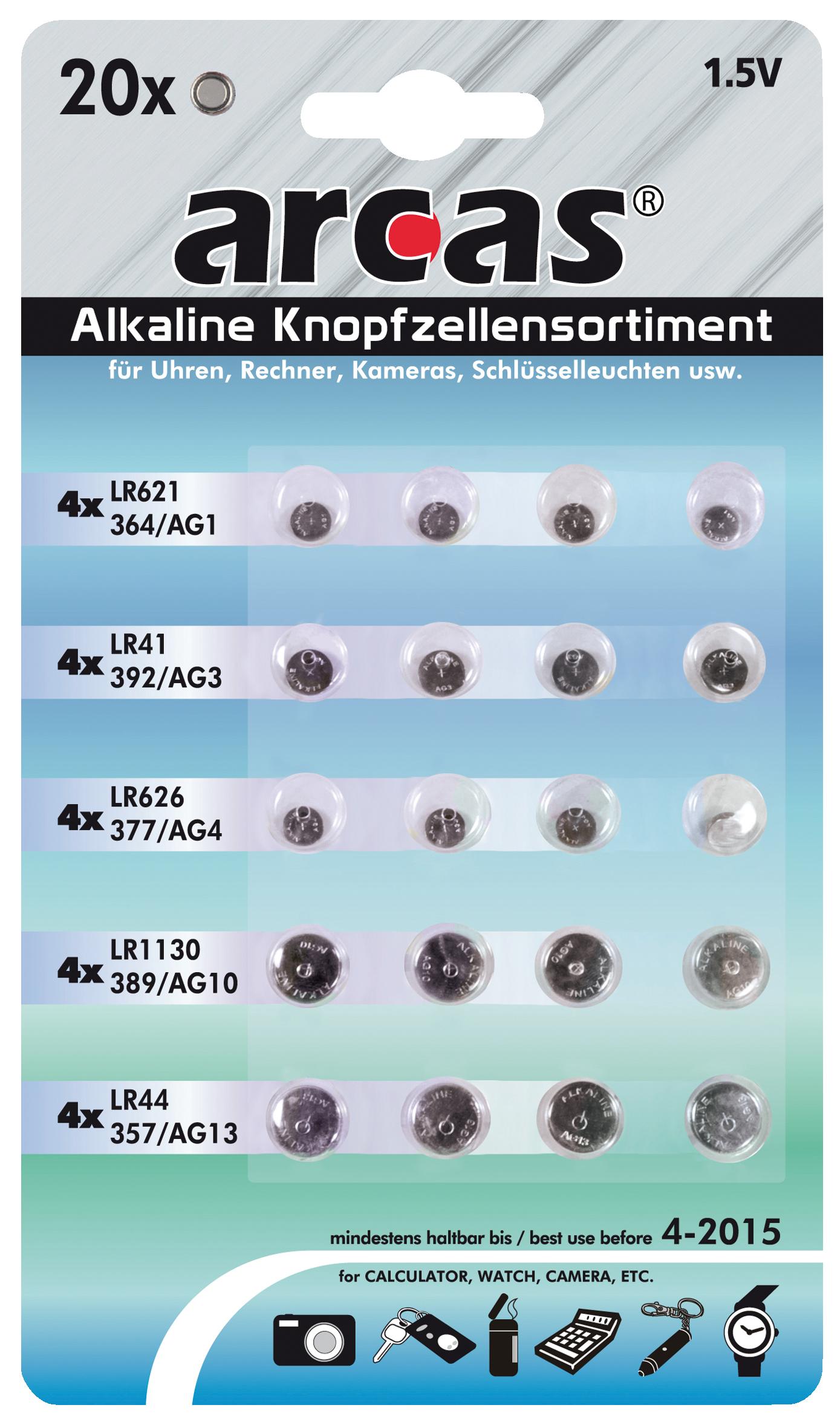 Knopfzellen-Sortiment Alkaline, 20-teilig