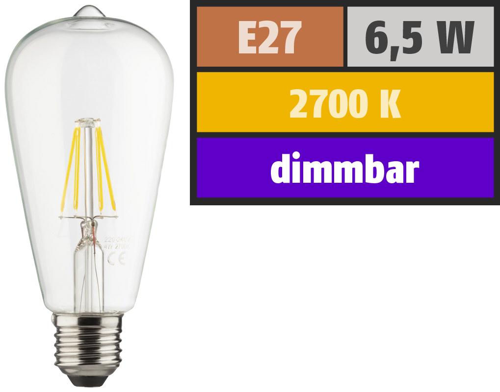 LED Filament Glühlampe, E27 / ST64, 6,5W, 810lm, 2700K, warmweiß, dimmbar