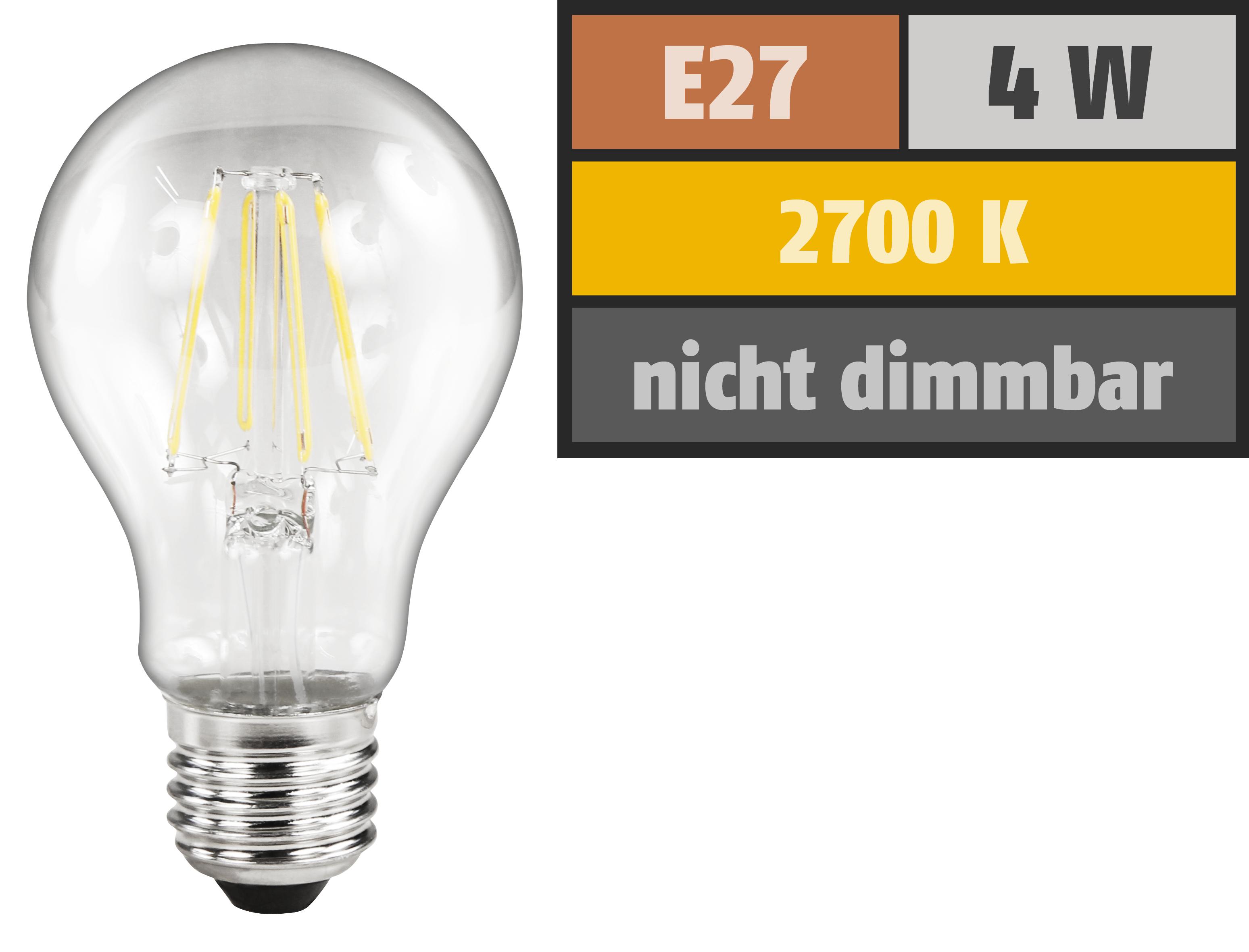 LED Filament Glühlampe McShine ''Filed'', E27, 4W, 470lm, warmweiß, klar