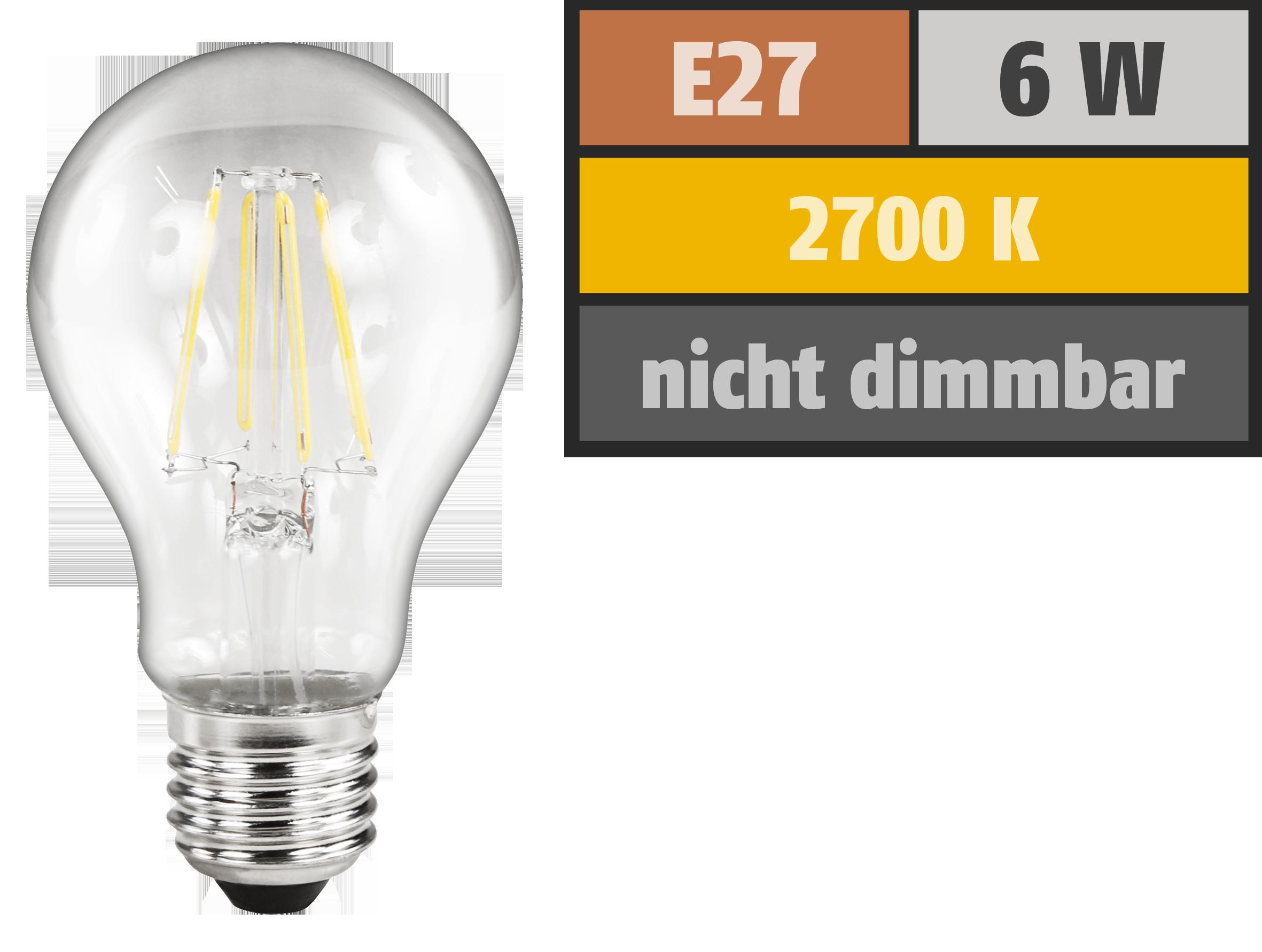 LED Filament Glühlampe McShine ''Filed'', E27, 6W, 630 lm, warmweiß