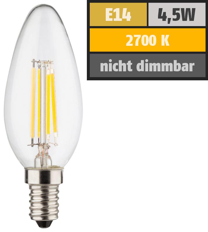 LED Filament Kerzenlampe, E14, 4,5W, 470lm, 2700K, warmweiß