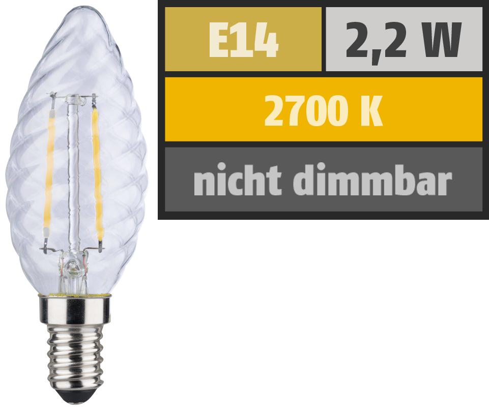 LED Filament Kerzenlampe gedreht, E14, 2,2W, 250lm, 2700K, warmweiß