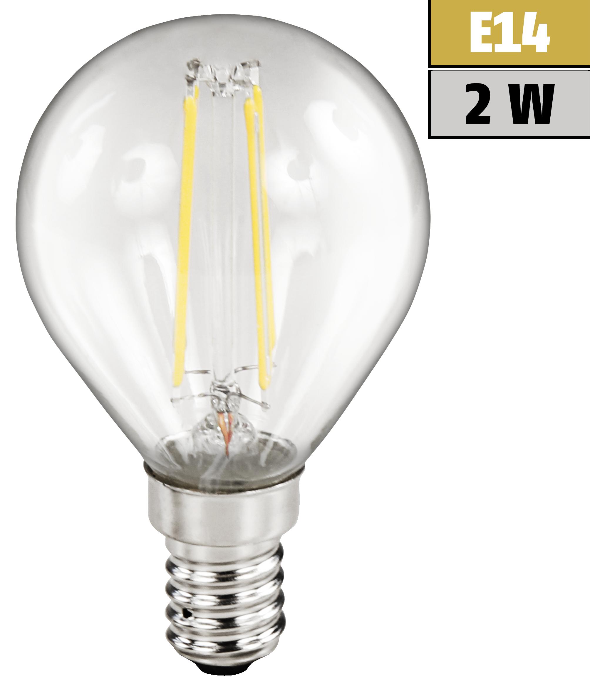 LED Filament Tropfenlampe McShine ''Filed'', E14, 2W, 200 lm, warmweiß, klar