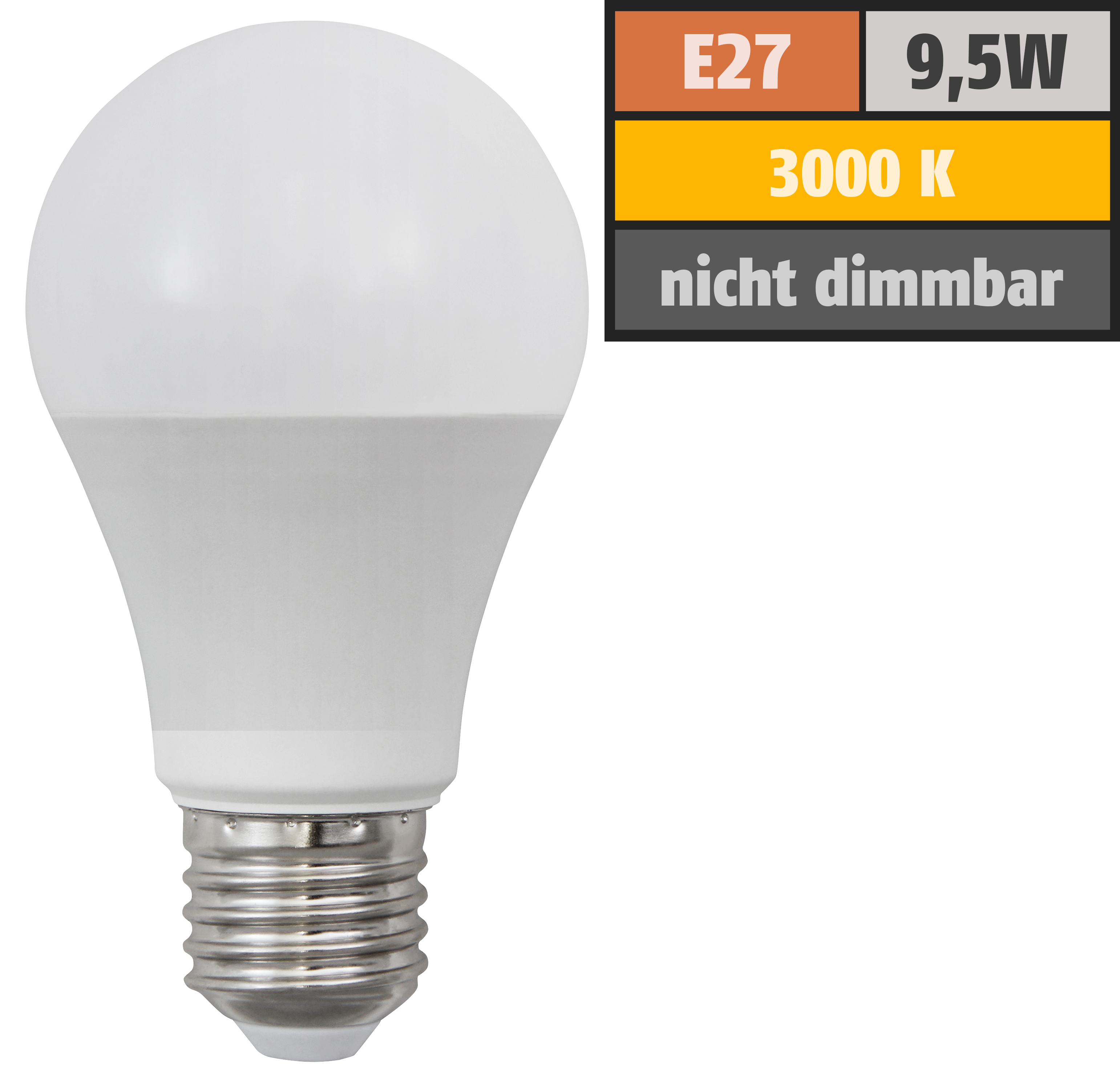 LED Glühlampe McShine ''SuperBright'' E27, 9,5W, 1520lm, 270°, 3000K, warmweiß