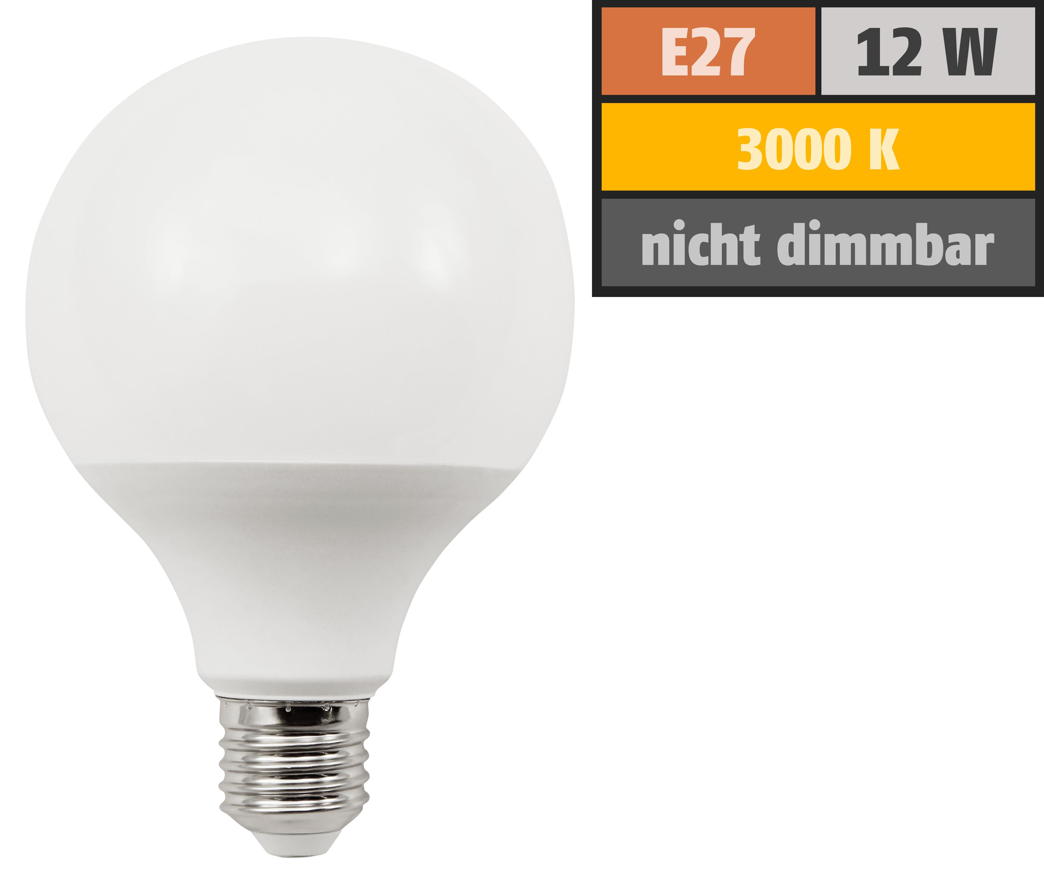 LED Globelampe McShine, E27, 12W, 1055lm, warmweiß