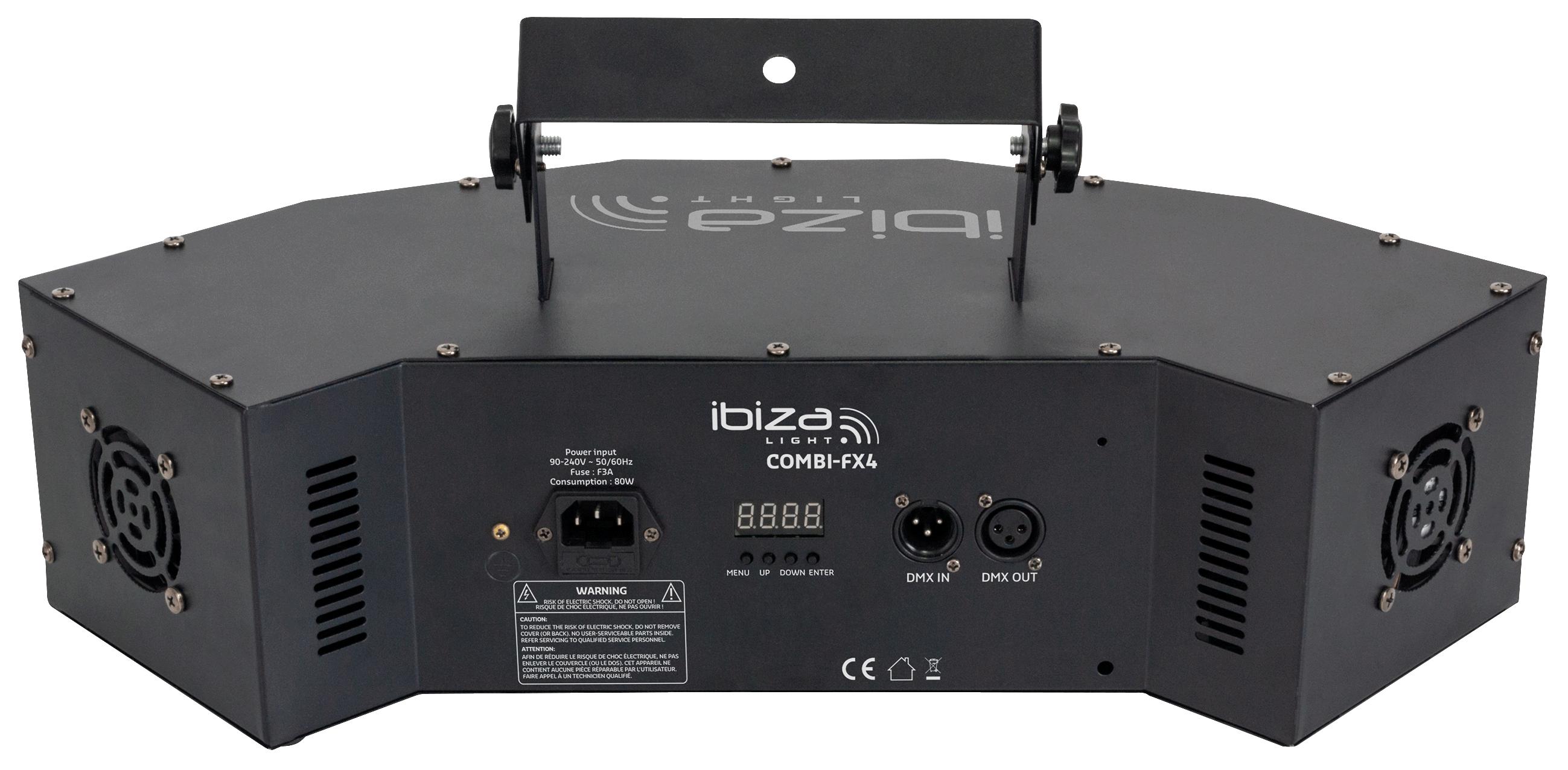 LED-Lichteffekt IBIZA ''COMBI-FX4'' DMX gesteuert, 3in1 Wash-Moon-Strobe