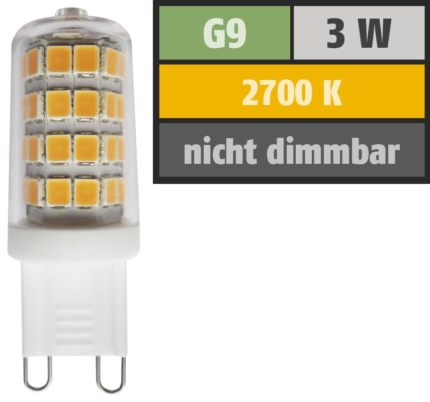 LED Stiftsockellampe, G9, 3W, 300lm, 2700K, warmweiß