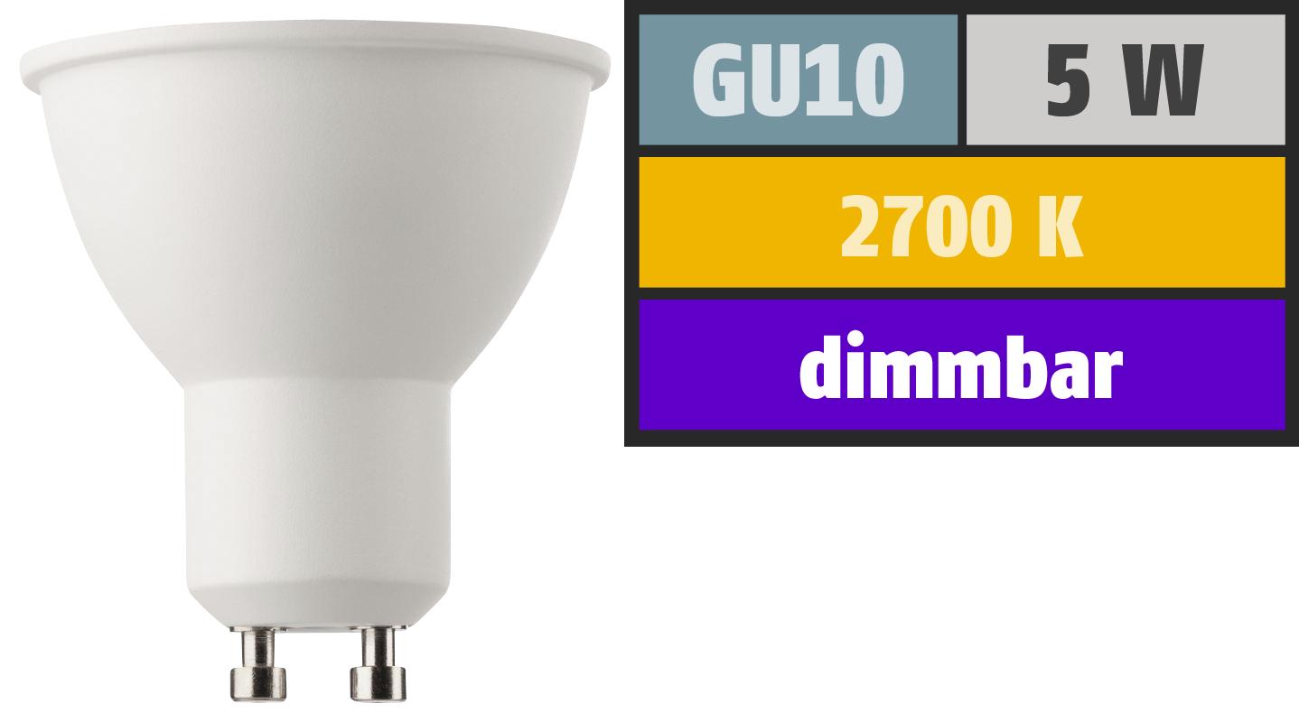 LED-Strahler, GU10, 5W, 345lm, 2700K, warmweiß, SWITCH DIM 100/55/15%