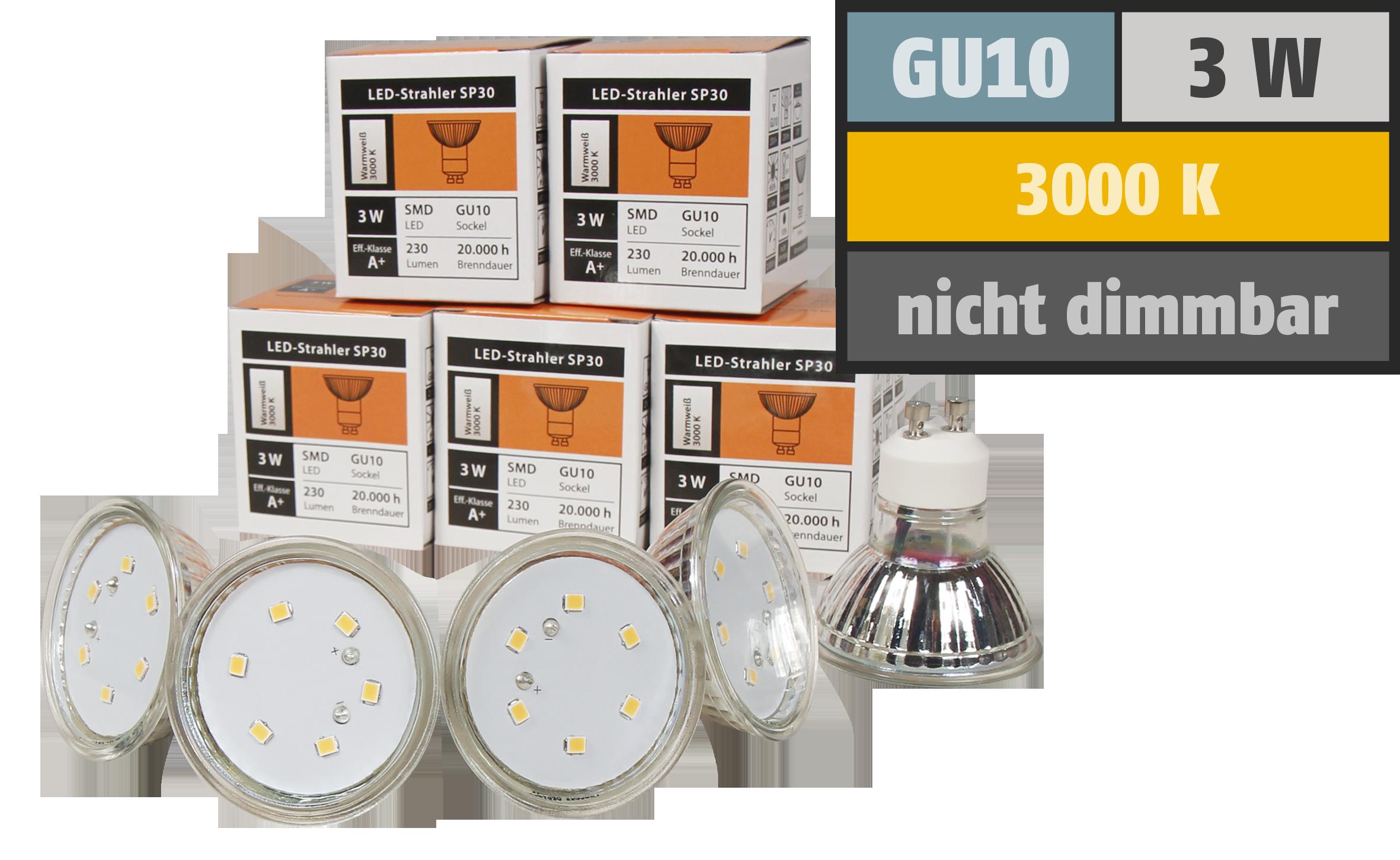 LED-Strahler McShine ''SP30-10'', GU10, 3W, 230 lm, warmweiß, 10er-Pack