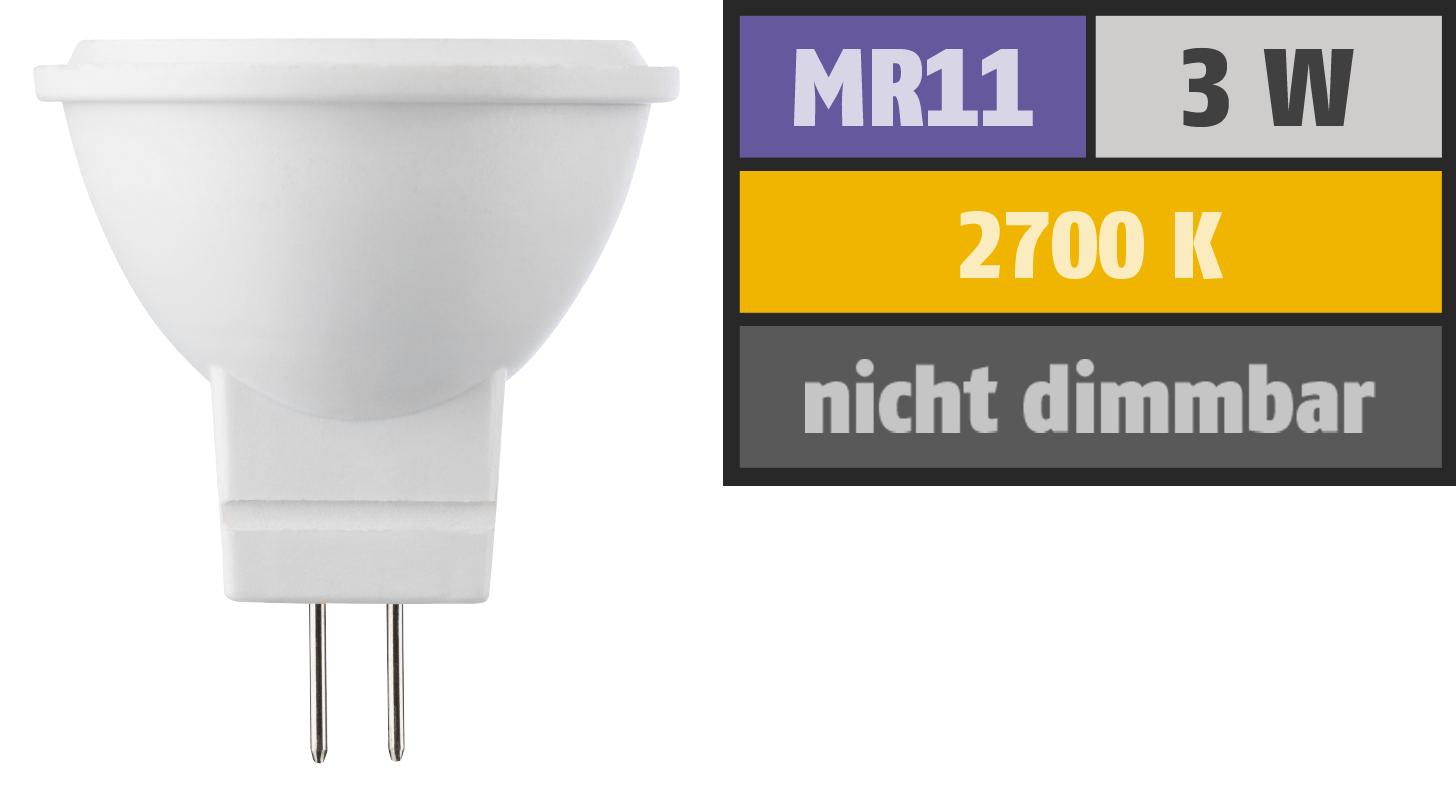 LED Strahler MR11 / G4, 3W, 190lm, 2700K, warmweiß