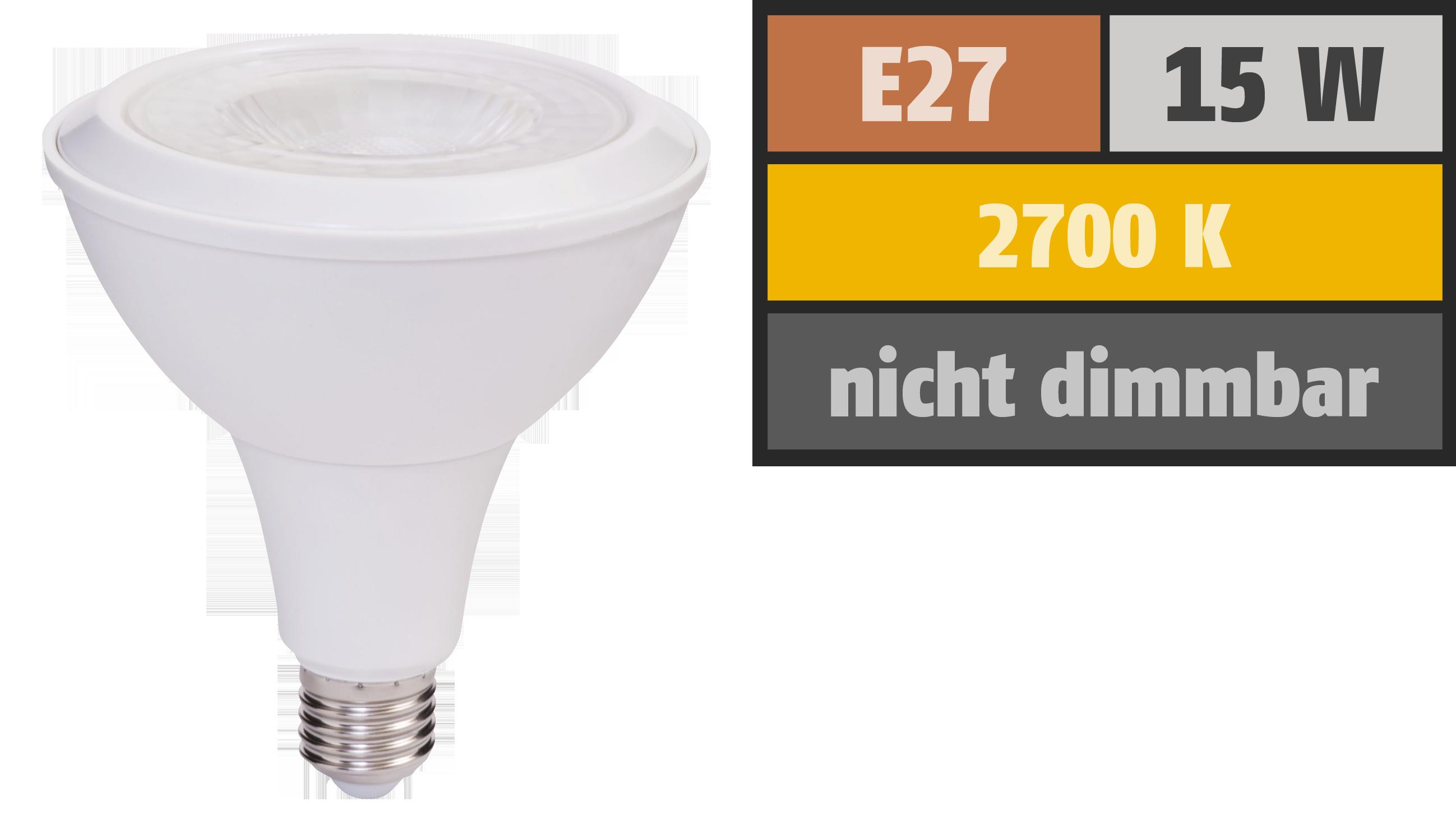 LED-Strahler PAR38, E27, 15W, 1.000 lm, IP54, warmweiß