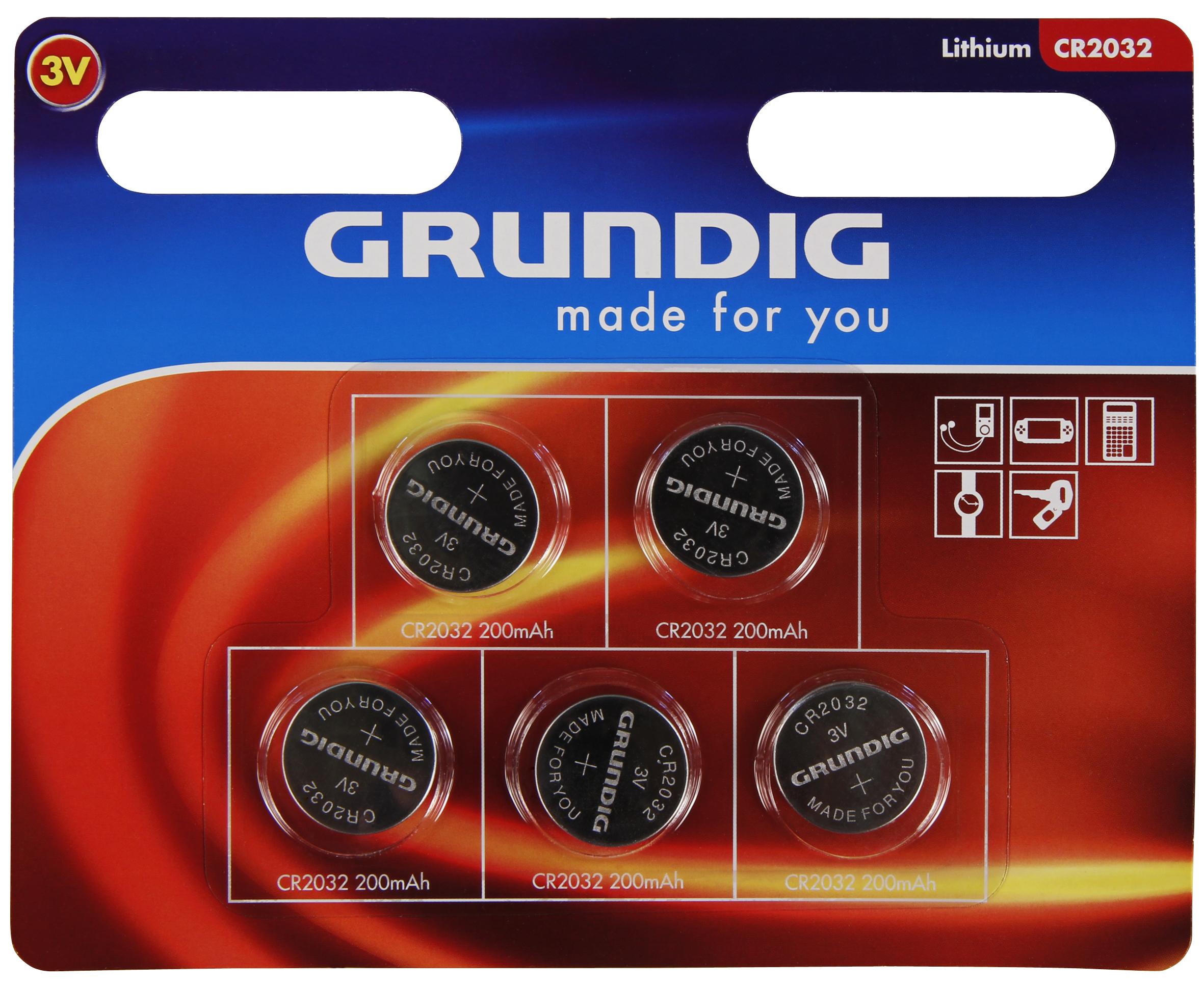 Knopfzelle GRUNDIG CR2032, 3,0V, Lithium, 5er-Blister