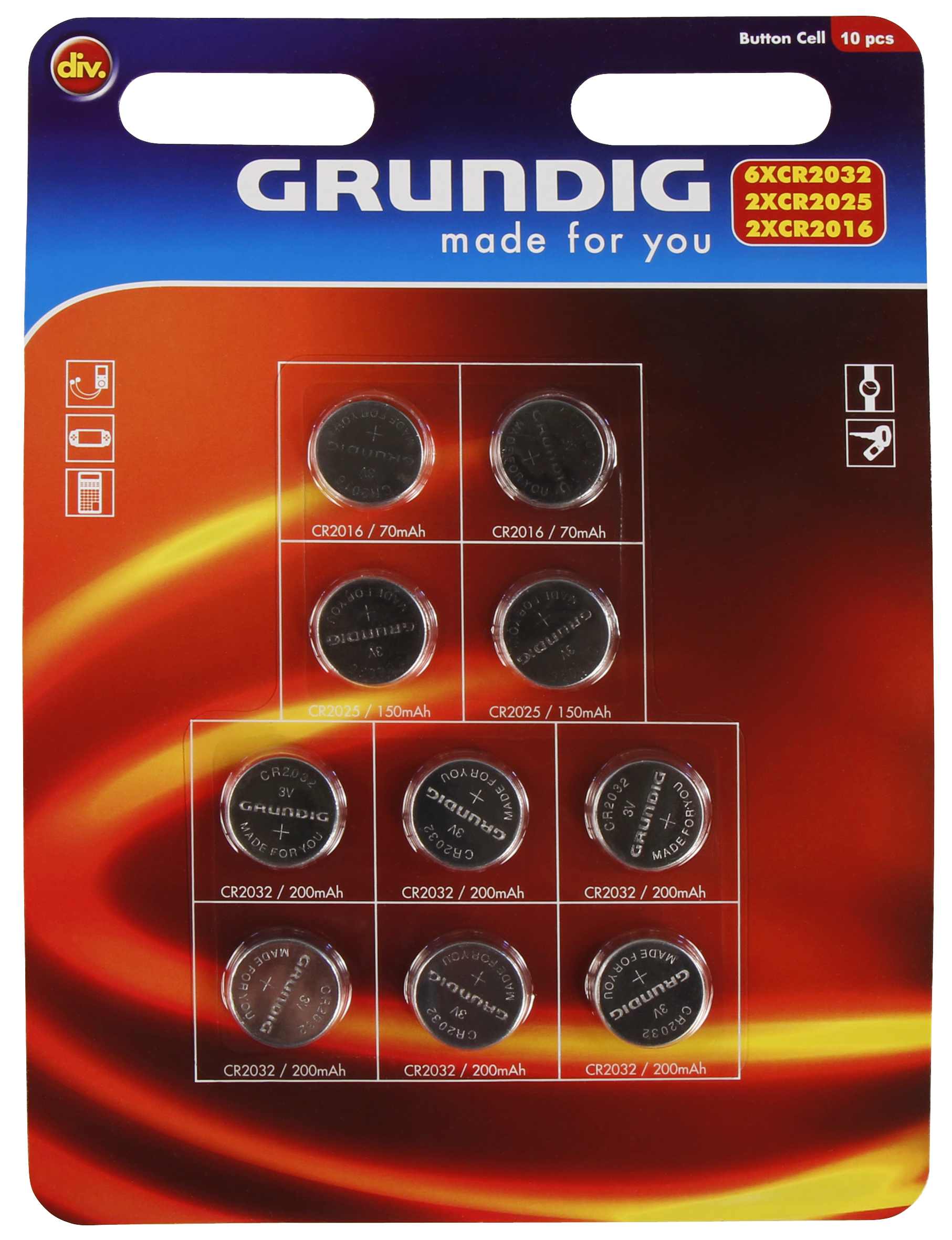 Knopfzellen-Sortiment GRUNDIG, Lithium, 10-teilig