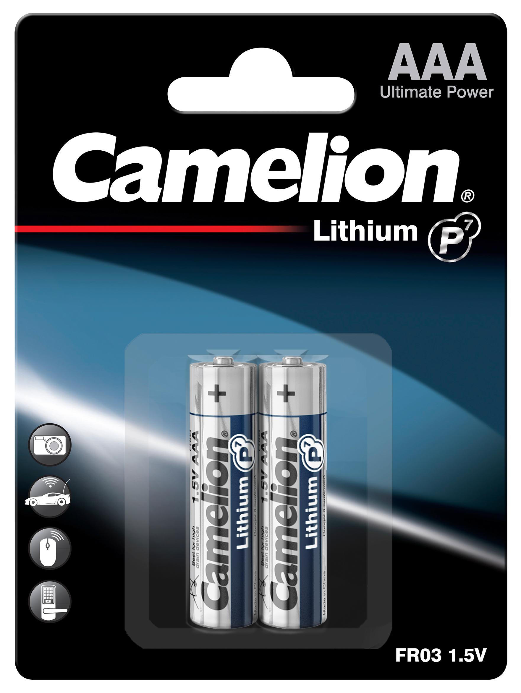 Micro-Batterie CAMELION Lithium 1,5V, Typ AAA/FR03, 2er-Blister