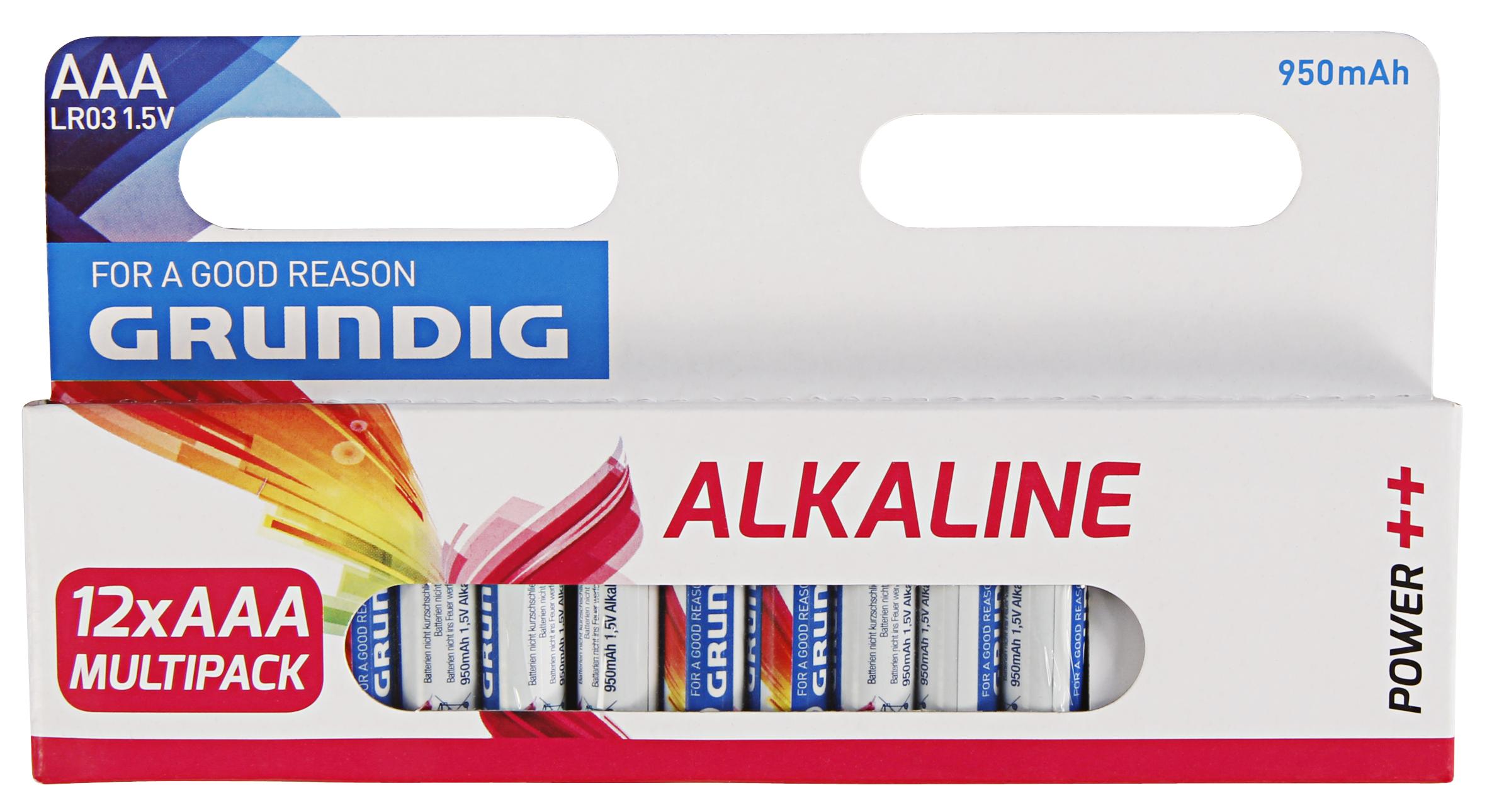 Micro-Batterie GRUNDIG Alkaline, 1,5V, Typ AAA/LR03, 12er-Pack