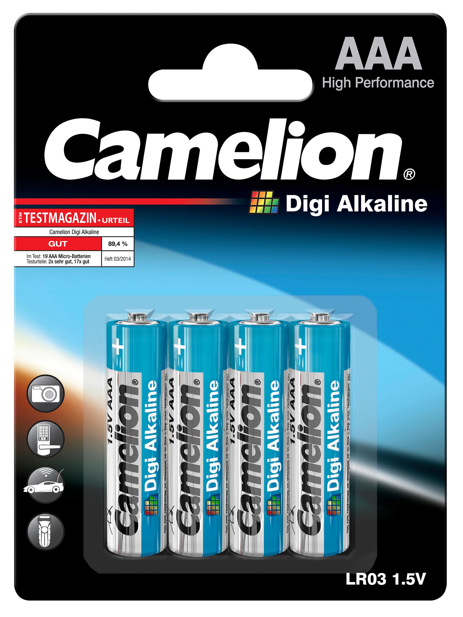 Mignon-Batterie CAMELION ''Digi Alkaline'' 1,5 V, Typ AA/LR6, 4er-Blister