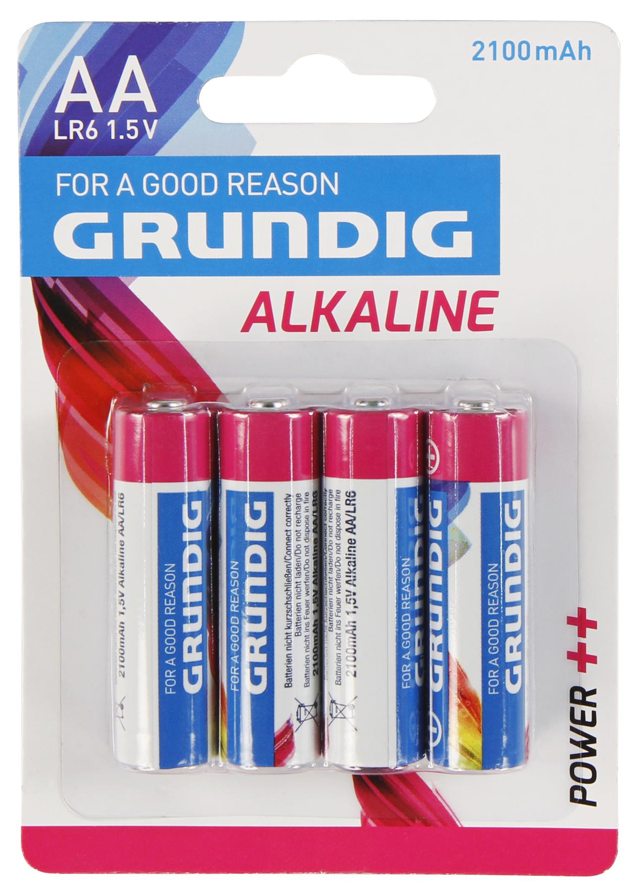 Mignon-Batterie GRUNDIG Alkaline, 1,5V, Typ AA/LR6, 4er-Blister