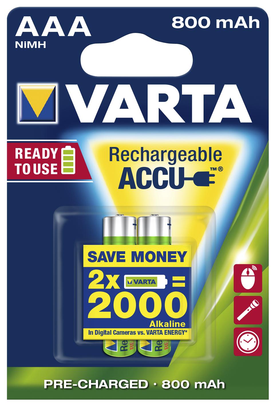 Micro-Akku VARTA ''ACCU Ready2Use'', Ni-MH, 800mA, Typ AAA, 2er-Blister