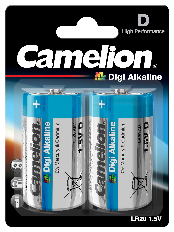 Mono-Batterie CAMELION  Digi Alkaline 1,5 V, Typ D/LR20, 2er Blister