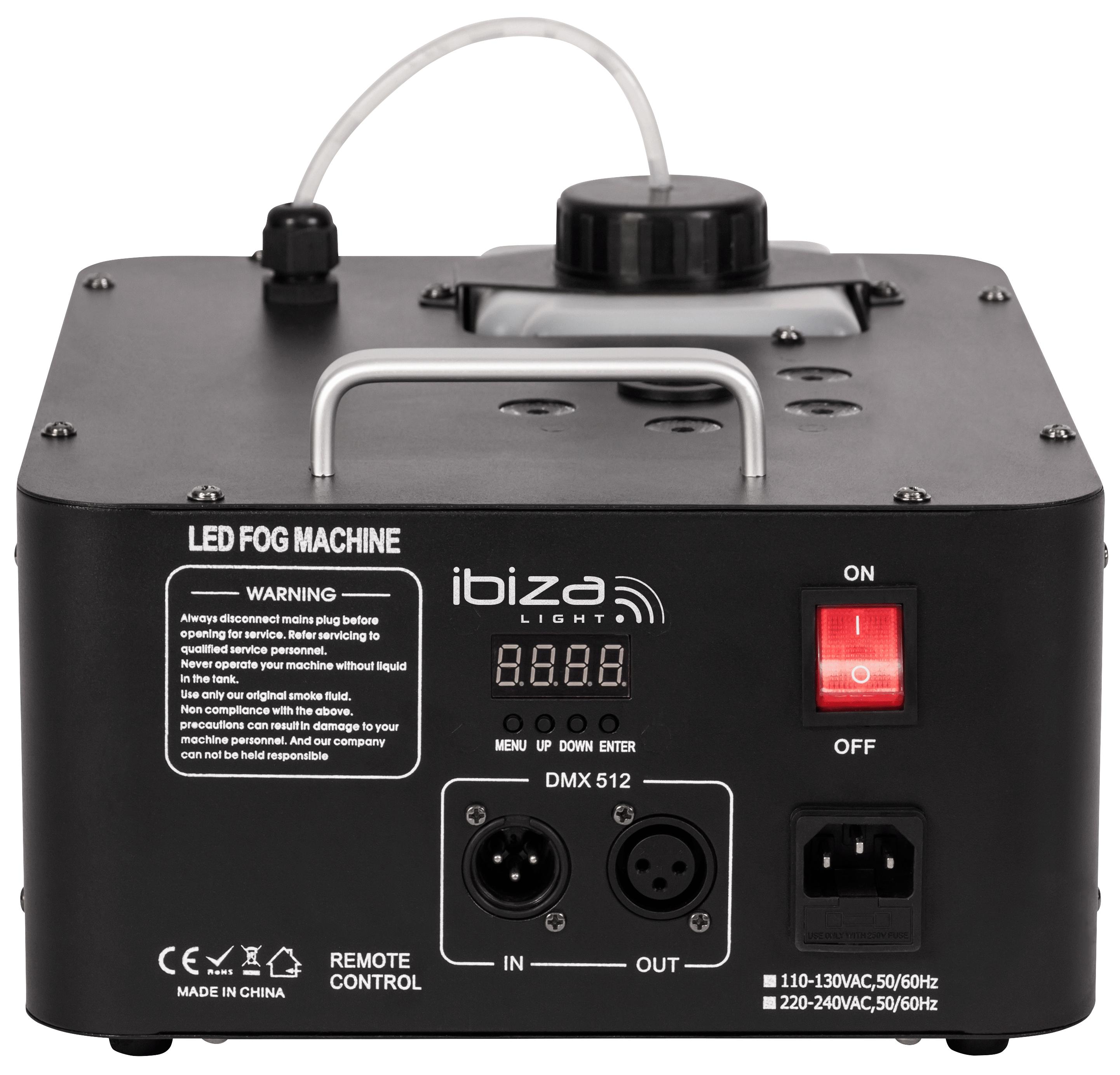 Nebelmaschnine IBIZA ''FOG900-RGB'' DMX, austoß oben und unten, Fernbedienung