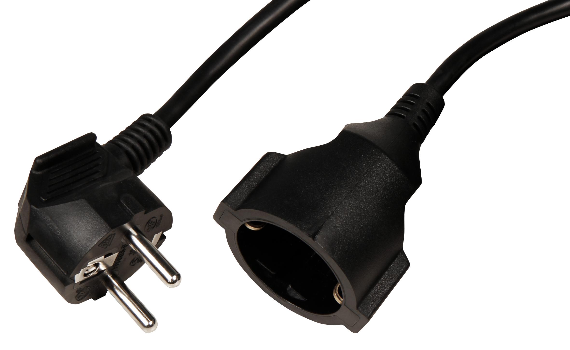 Netzkabel Schutzkontakt-Verlängerung McPower, 5m, 1,5mm², schwarz