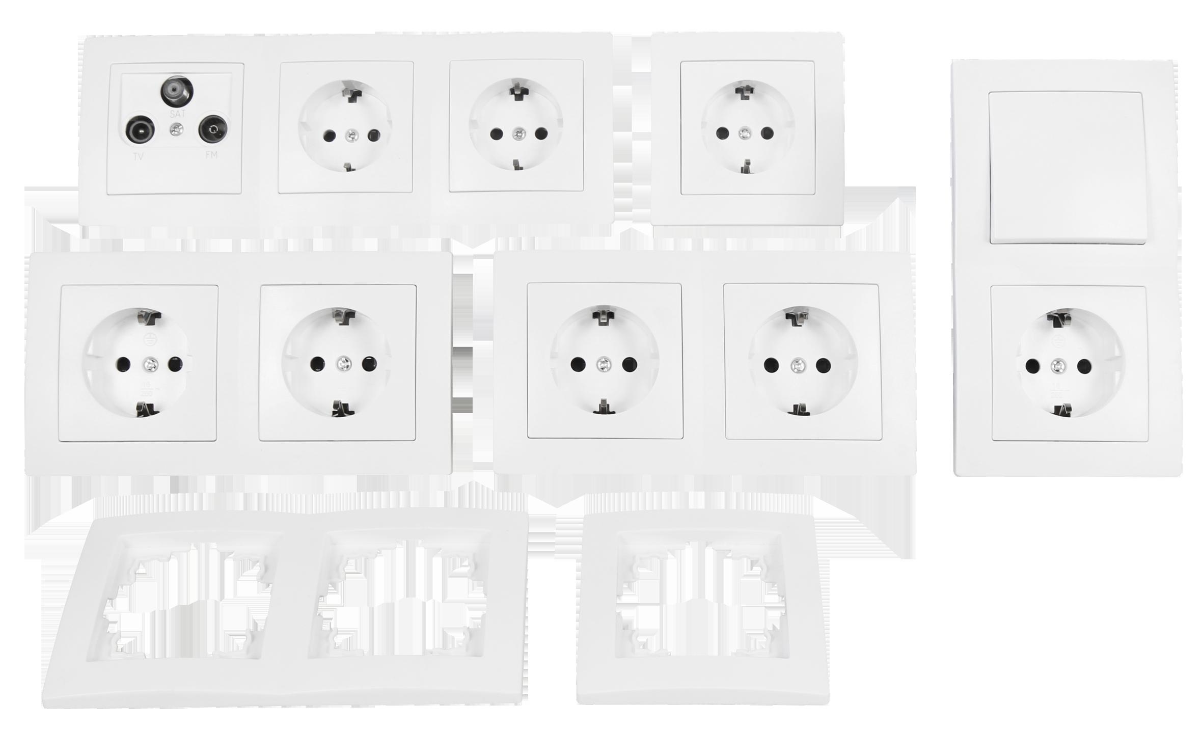 Schalter und Steckdosen Set McPower Flair ''Arbeitszimmer'', 17-teilig, weiß