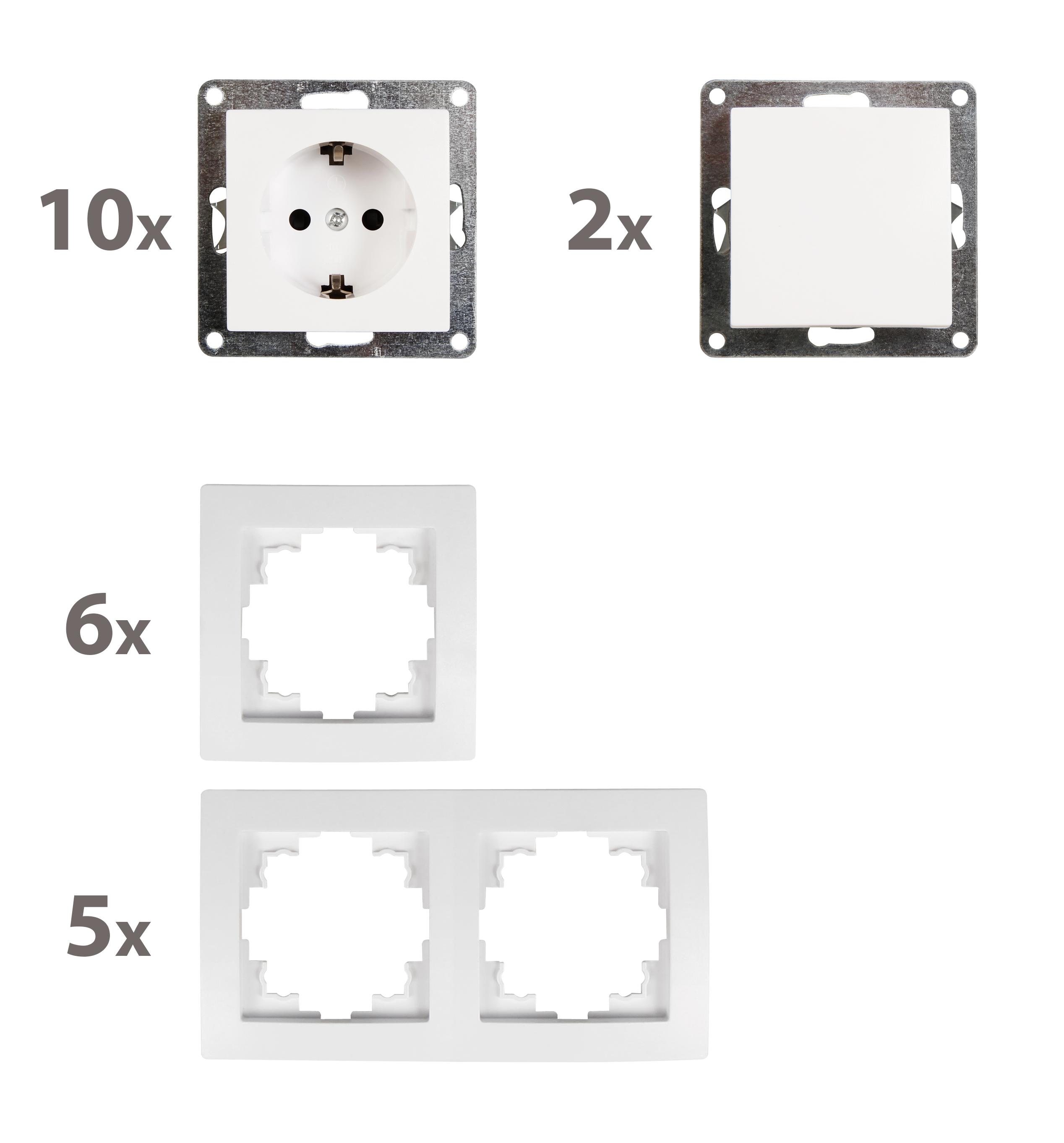 Schalter und Steckdosen Set McPower Flair ''Niveau'', 23-teilig, weiß