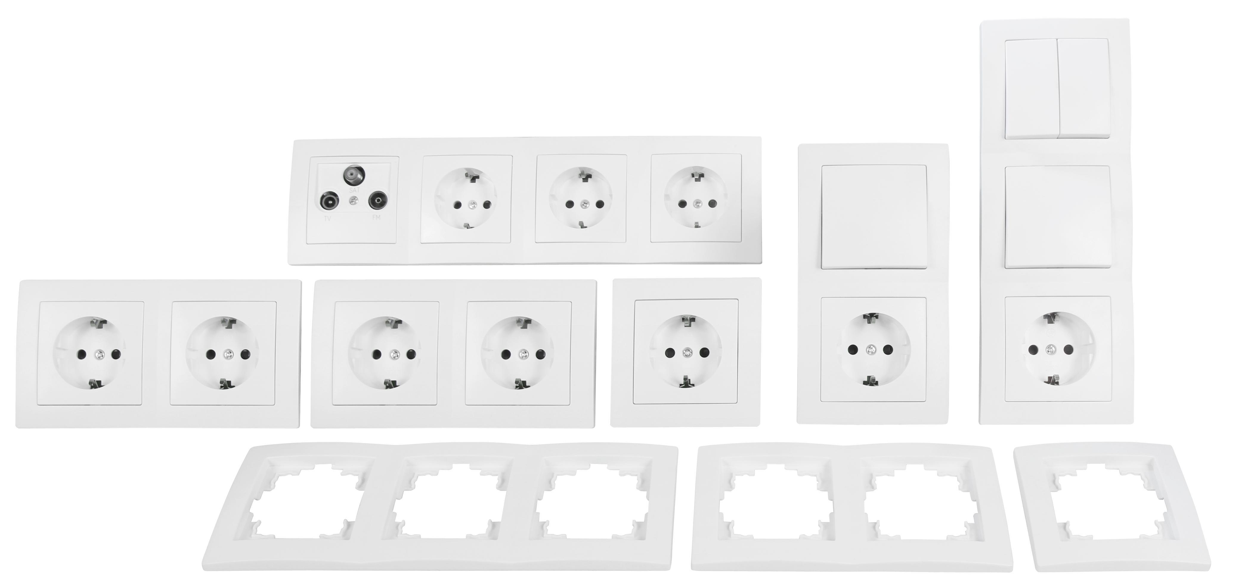 Schalter und Steckdosen Set McPower Flair ''Komfort'', 23-teilig, weiß