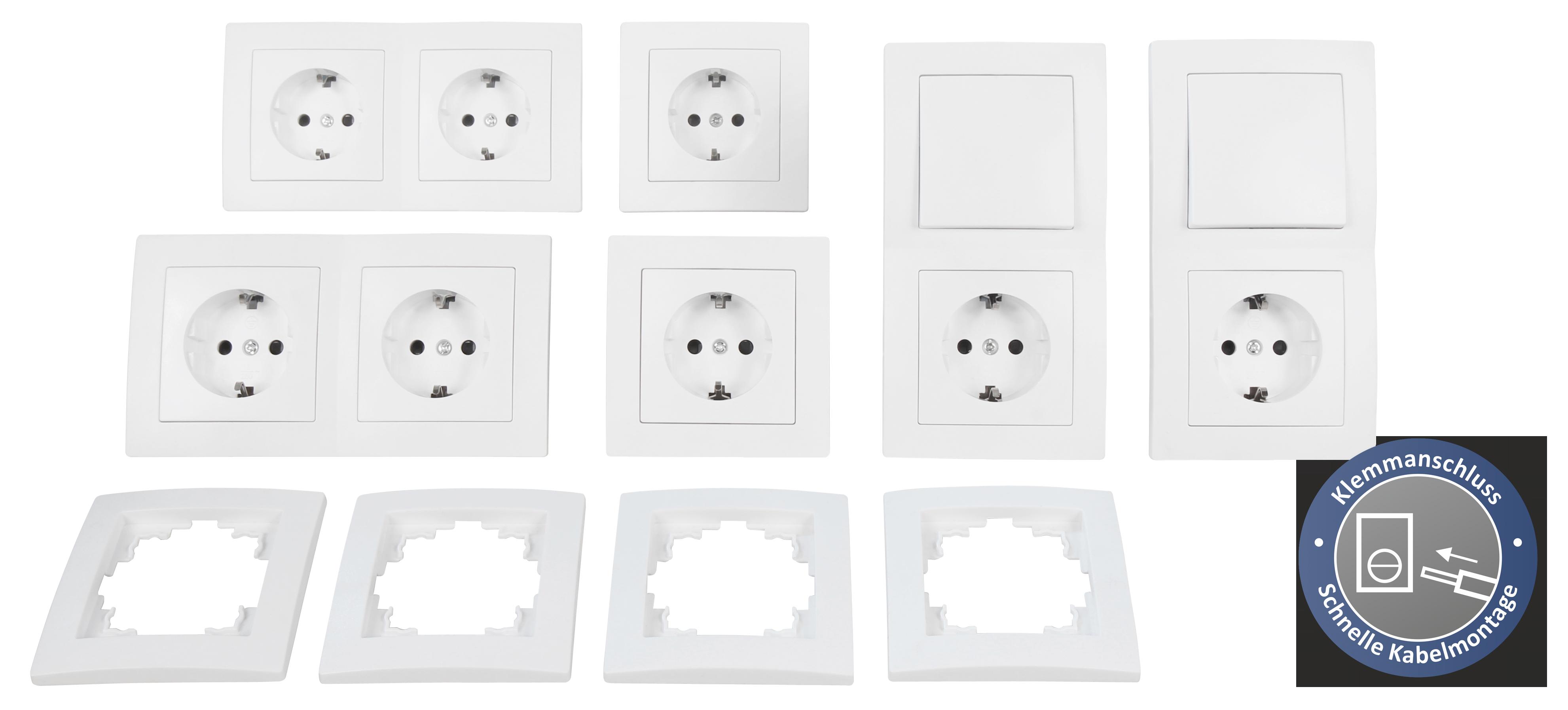 Schalter und Steckdosen Set McPower Flair ''Standard Profi'', 20-teilig, Klemmanschluss