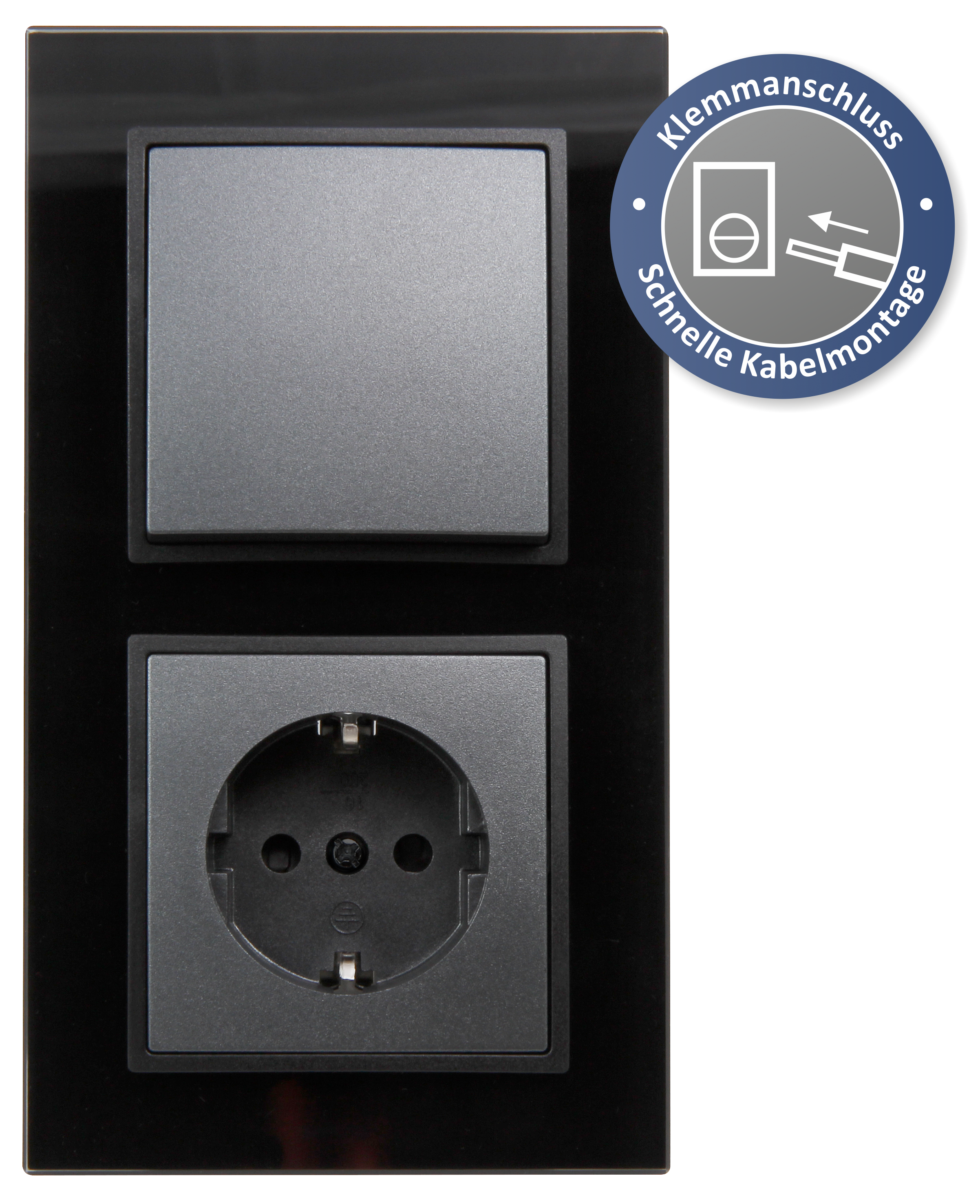 Schalter und Steckdosen Set McPower Flair ''Tür 2-fach-Style Profi'' Glasrahmen