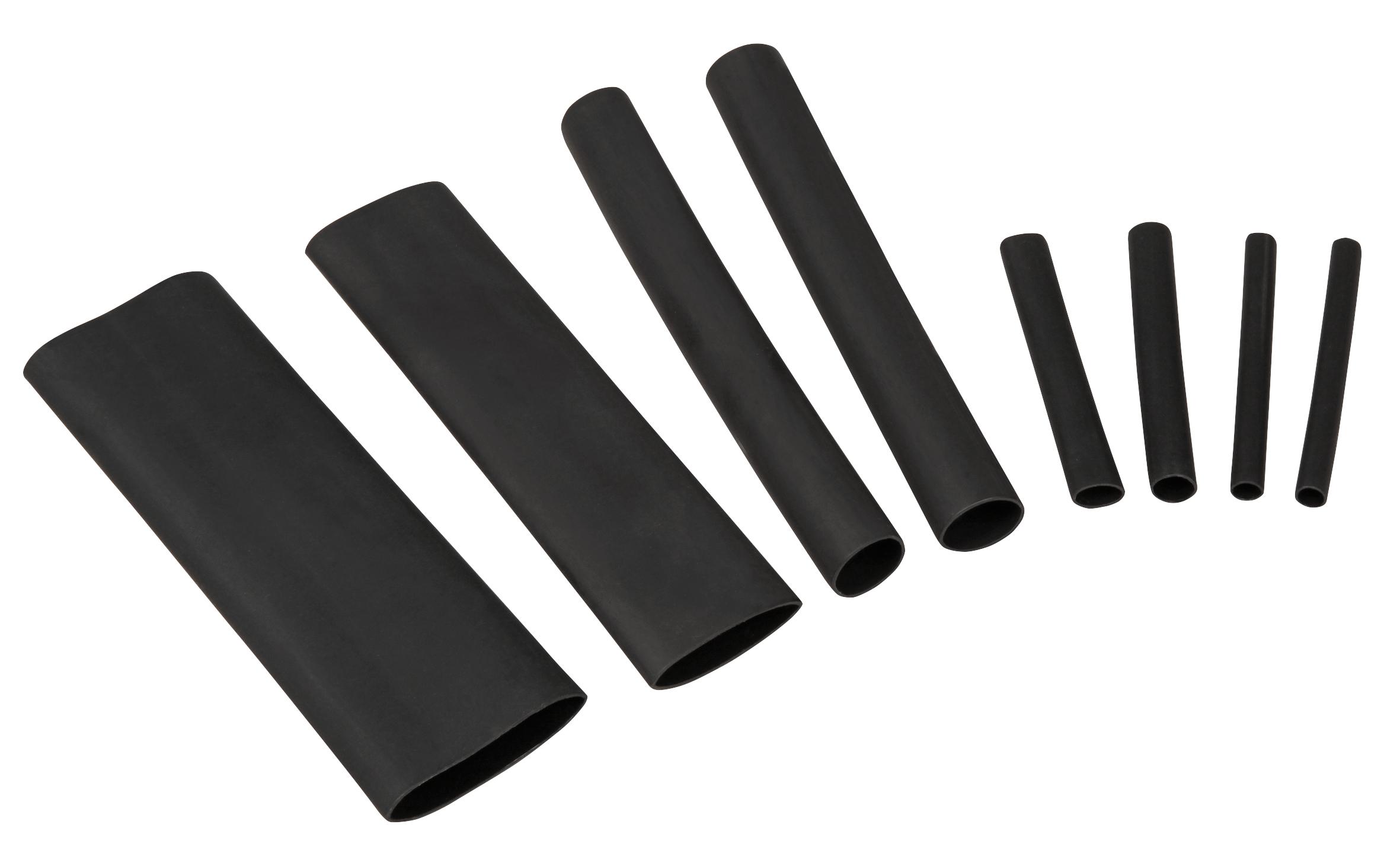 Schrumpfschlauch-Set McPower, 142-teilig in Sortimentsbox, klebend, schwarz