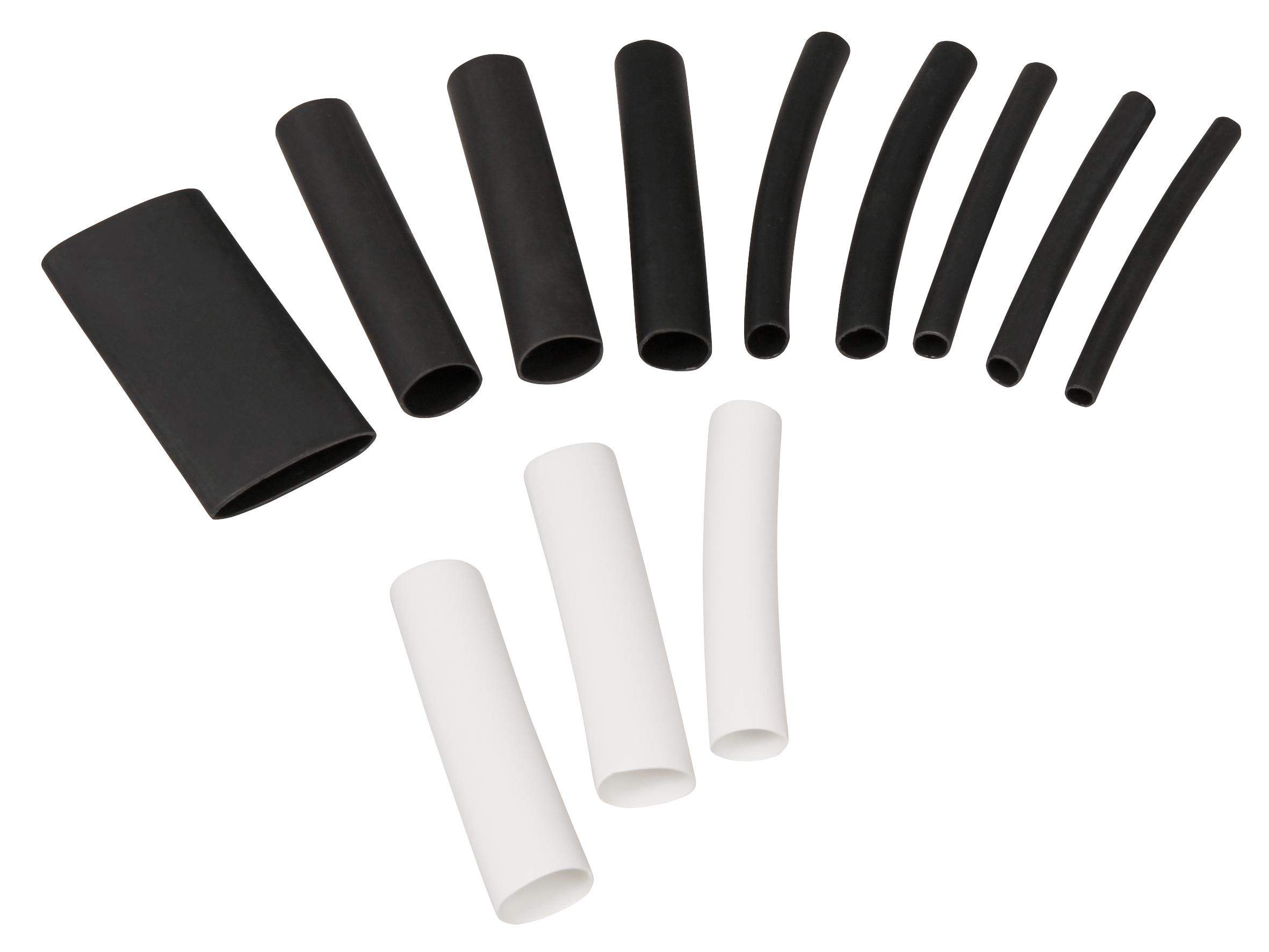 Schrumpfschlauch-Set McPower, 300-teilig in Sortimentsbox, klebend, schwarz/weiß