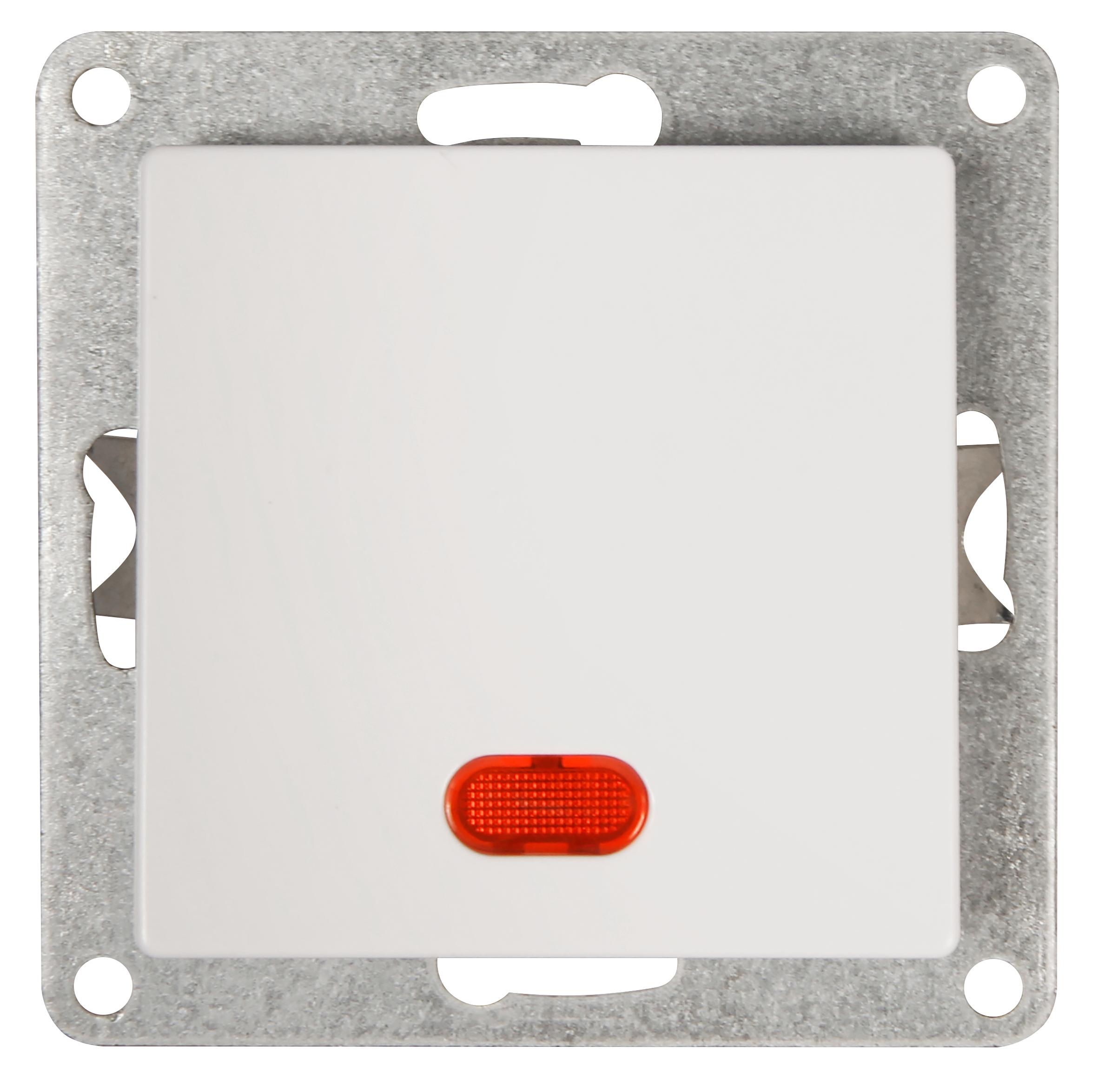 Schalter McPower ''Cup'' 250V~/10A, UP, weiß mit Kontroll-Leuchte
