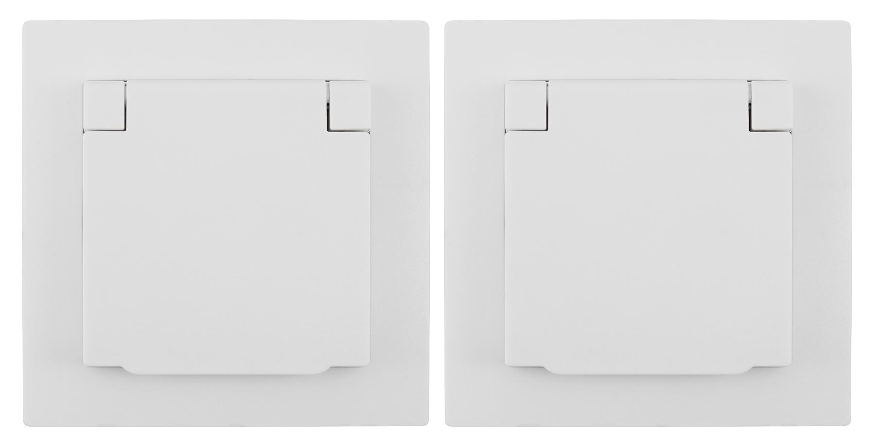 Schutzkontakt-Steckdose McPower ''Flair'', 250V~/16A, UP, IP44, weiß, 2er-Pack