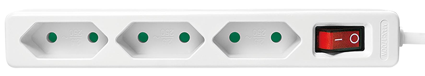Steckdosenleiste 3-fach mit Schalter, Euro