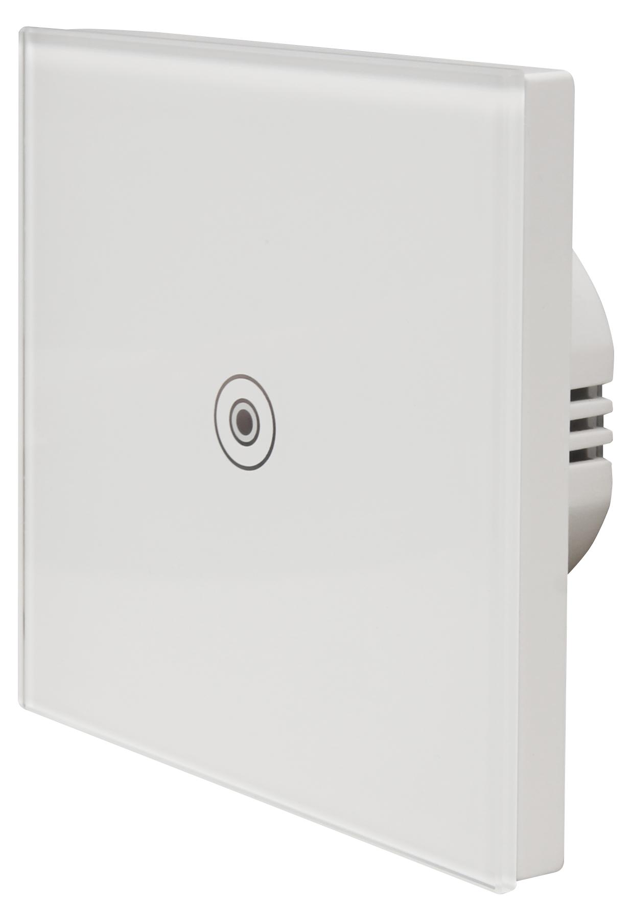 Touch Schalter McPower ''FLAIR'' 250V~/5A, Glas mit LED Kontroll-Leuchte, 1-fach